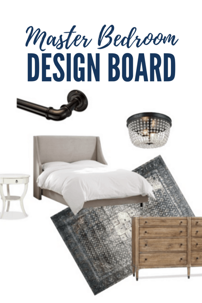 gray wing bed with navy blue rug