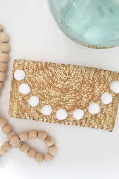 DIY Straw Pom Pom Clutch