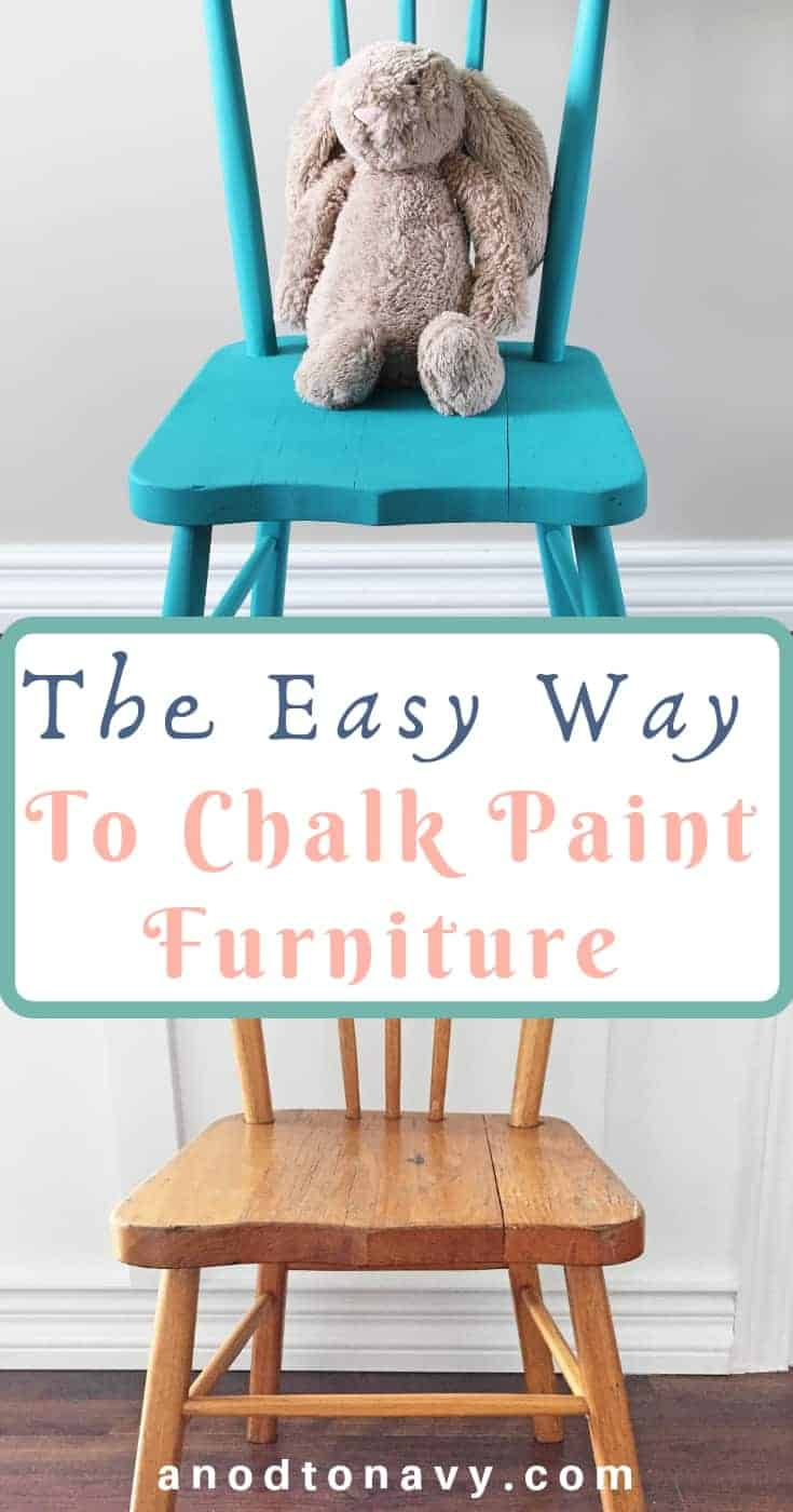 blue chalk painted chair with stuffed jelly cat bunny on it