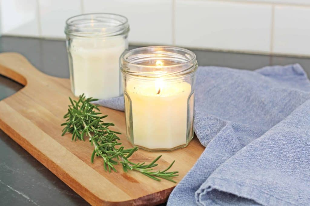 homemade beeswax candles with essential oils
