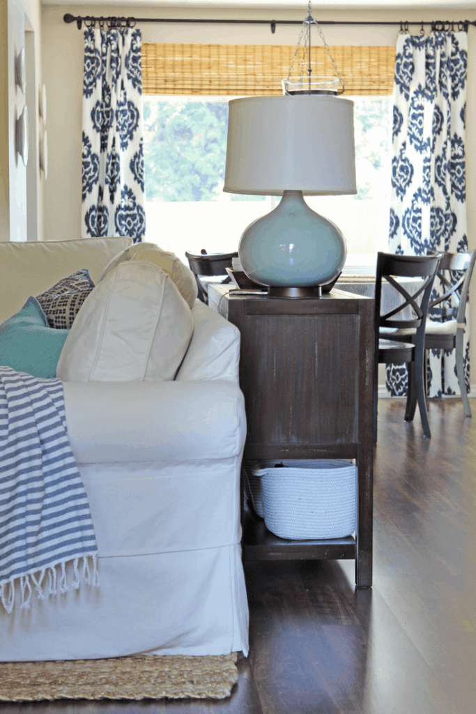 Family room home tour. #spring #coastalhome #farmhouse #potterybarn #sisalrug #moroccanpouf #crateandbarrel #ballarddesign