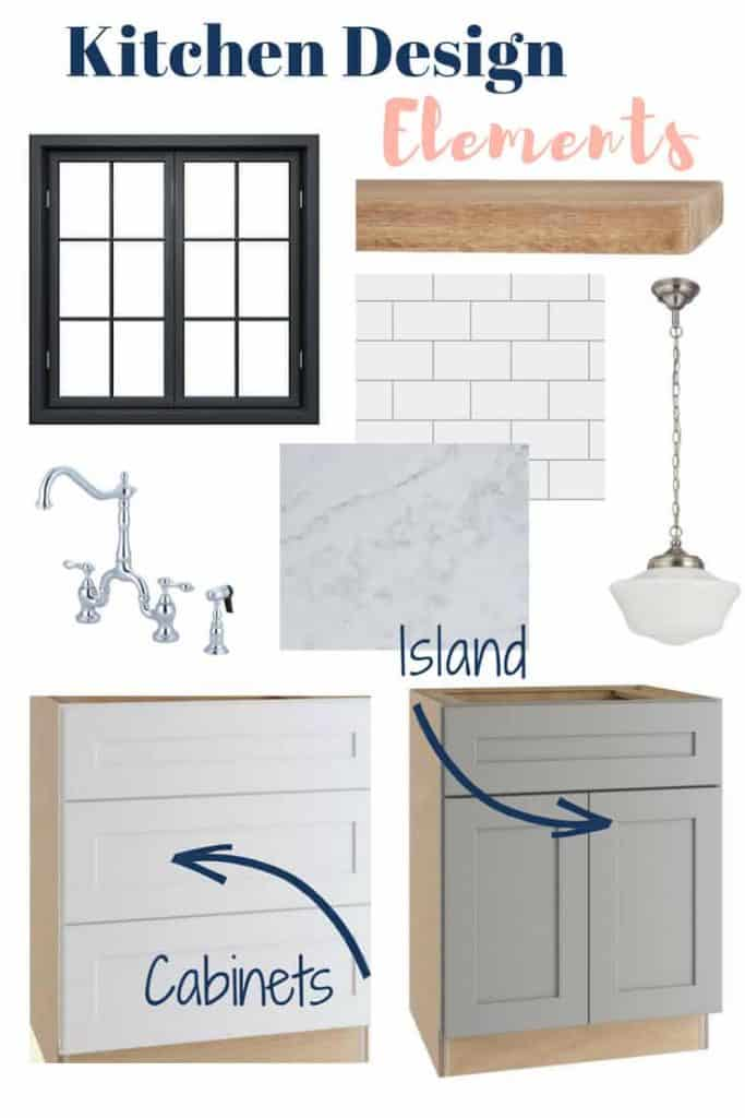 These cottage kitchen design elements are my take on combining classic style with a touch of whimsy to our kitchen. #kitchendesign #whitekitchens #graykitchens #openshelving #cottagestyle #farmhousestyle #schoolhousependant #coastalstyle