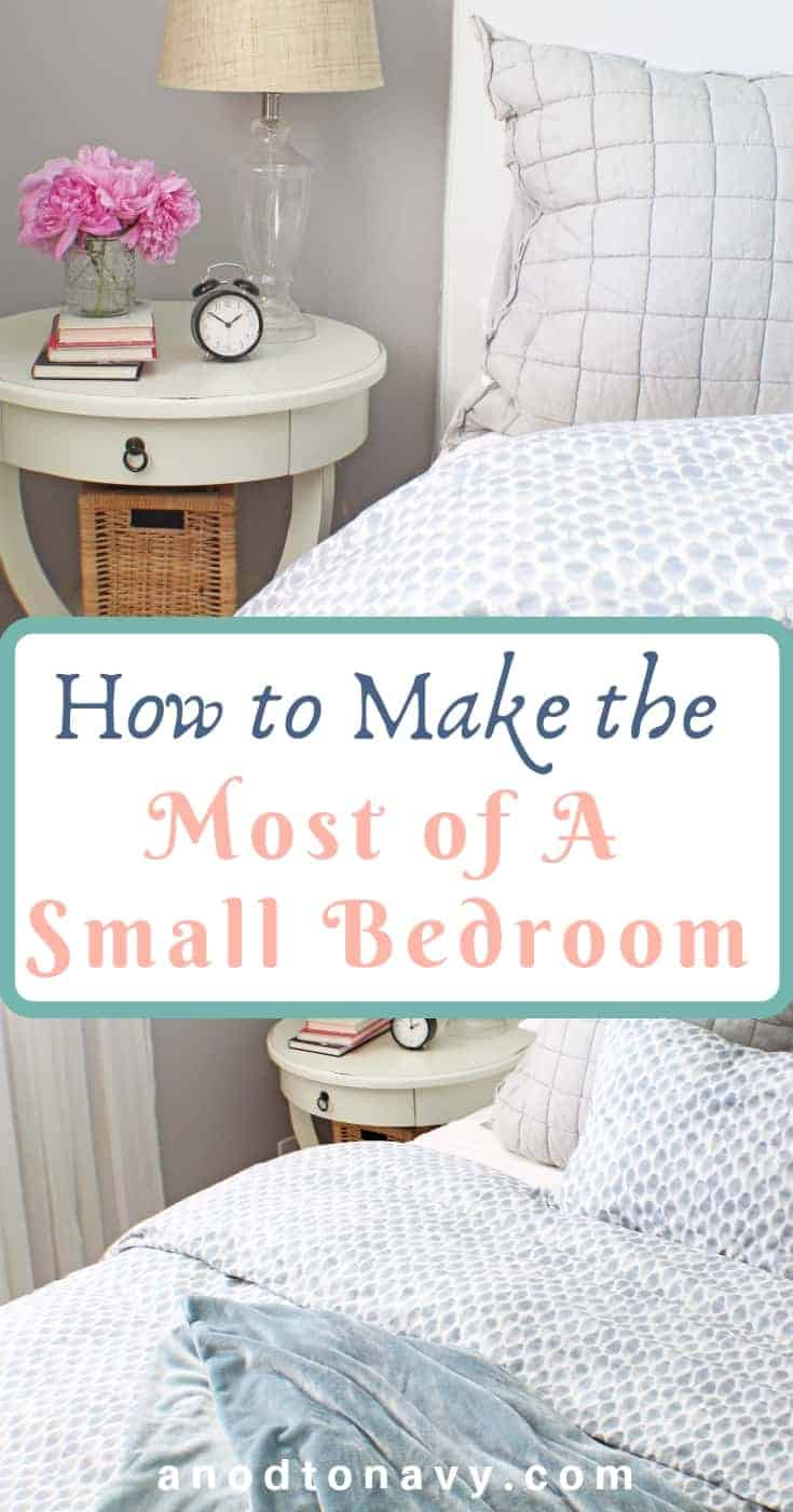 white pottery barn bedside table and blue west elm bedding
