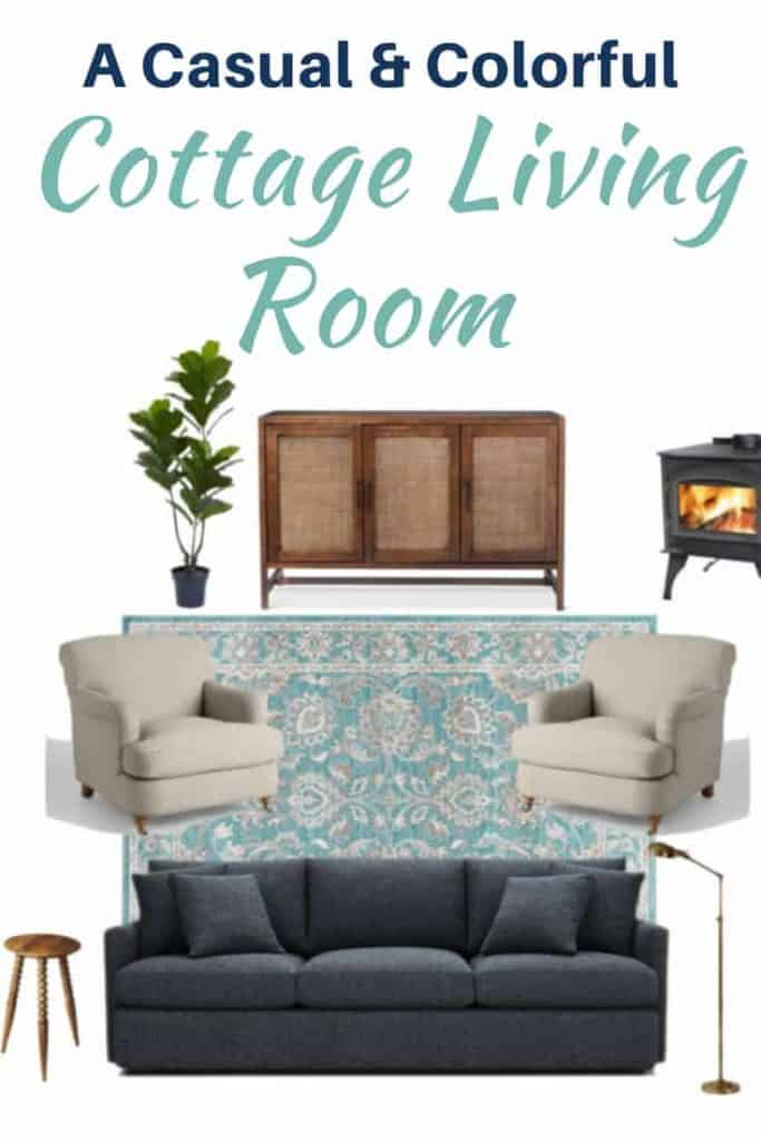 Casual & Colorful Living Room Design Board | A Nod to Navy
