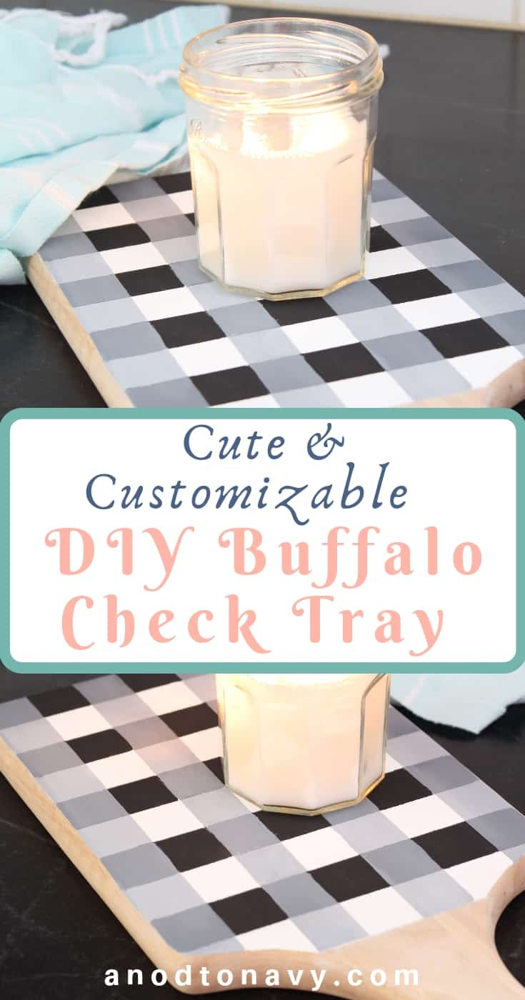 painted black and white buffalo check tray with candle