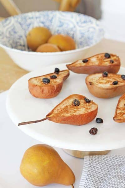 Baked Cinnamon Pears With Currants