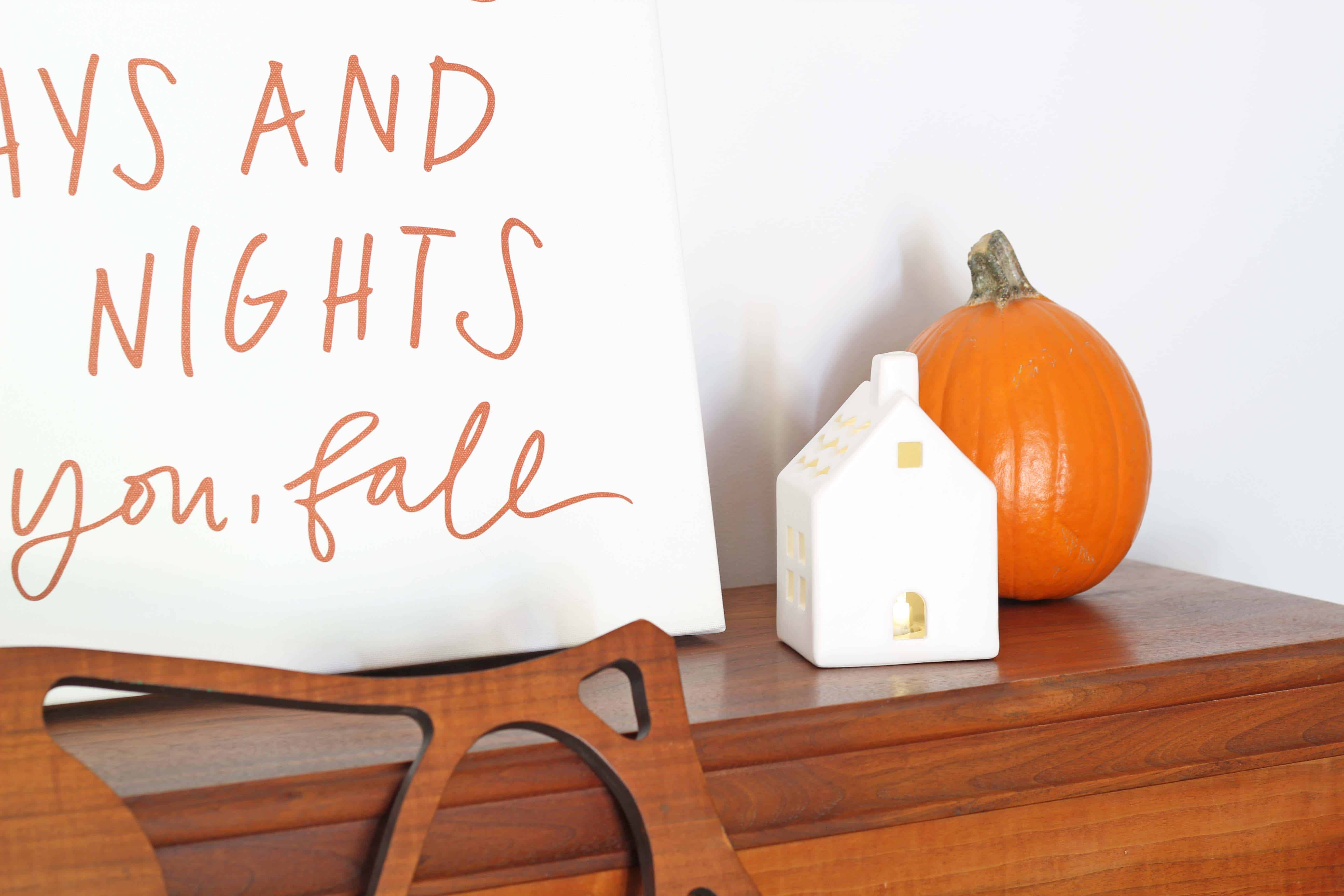 FallFall entryway with lindsay letters word art and ceramic village house