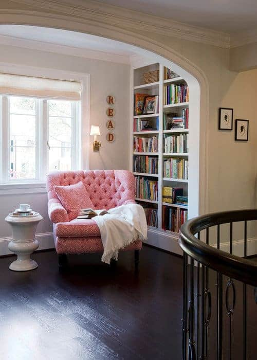 Reading nook at top of stairs