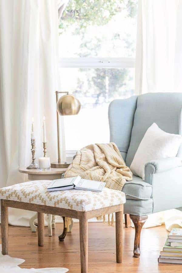 Reading nook with wingback chair