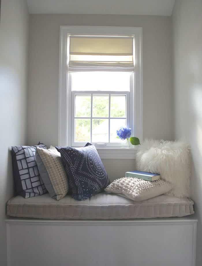 Cozy window seat reading nook