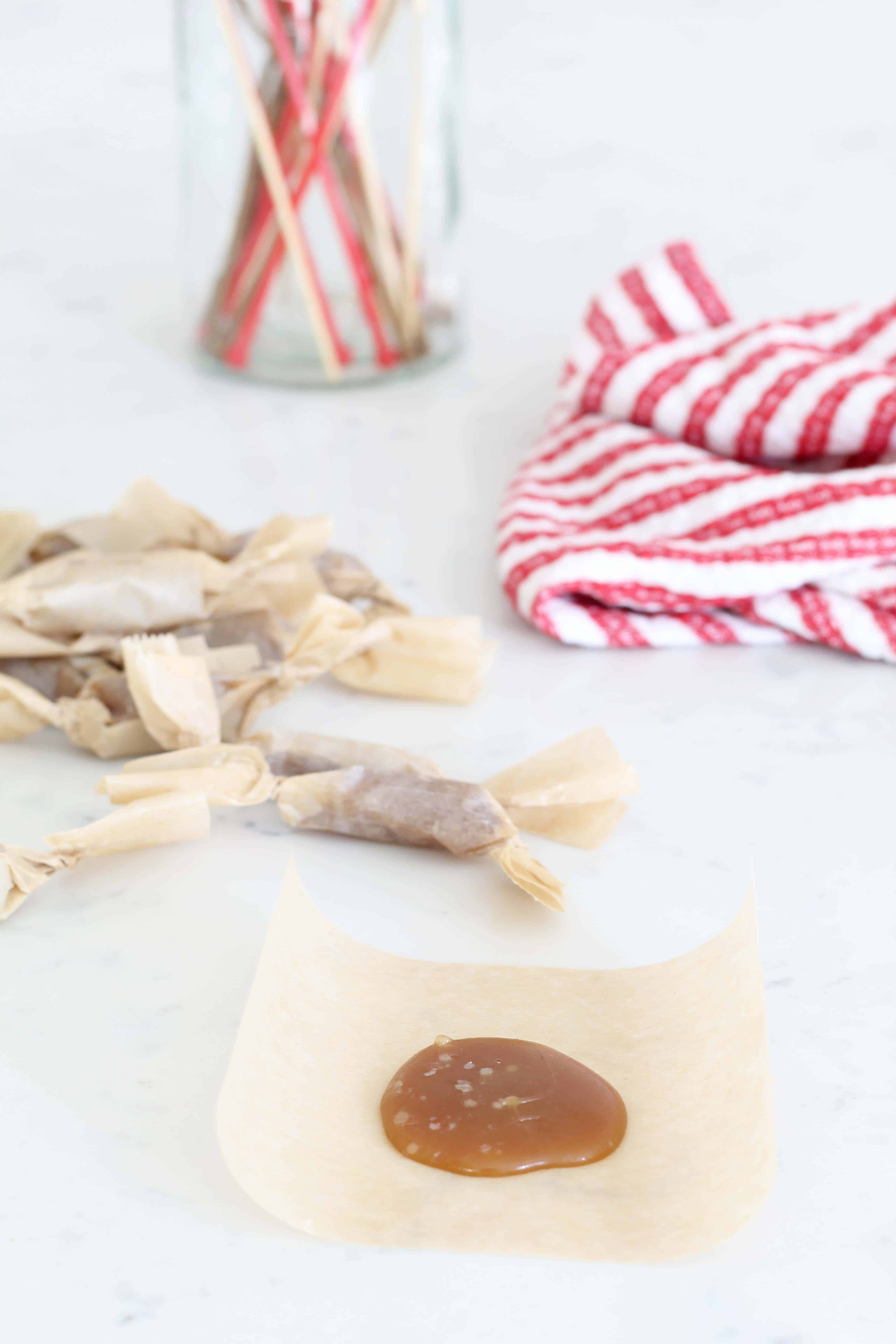 homemade caramels and red striped towel