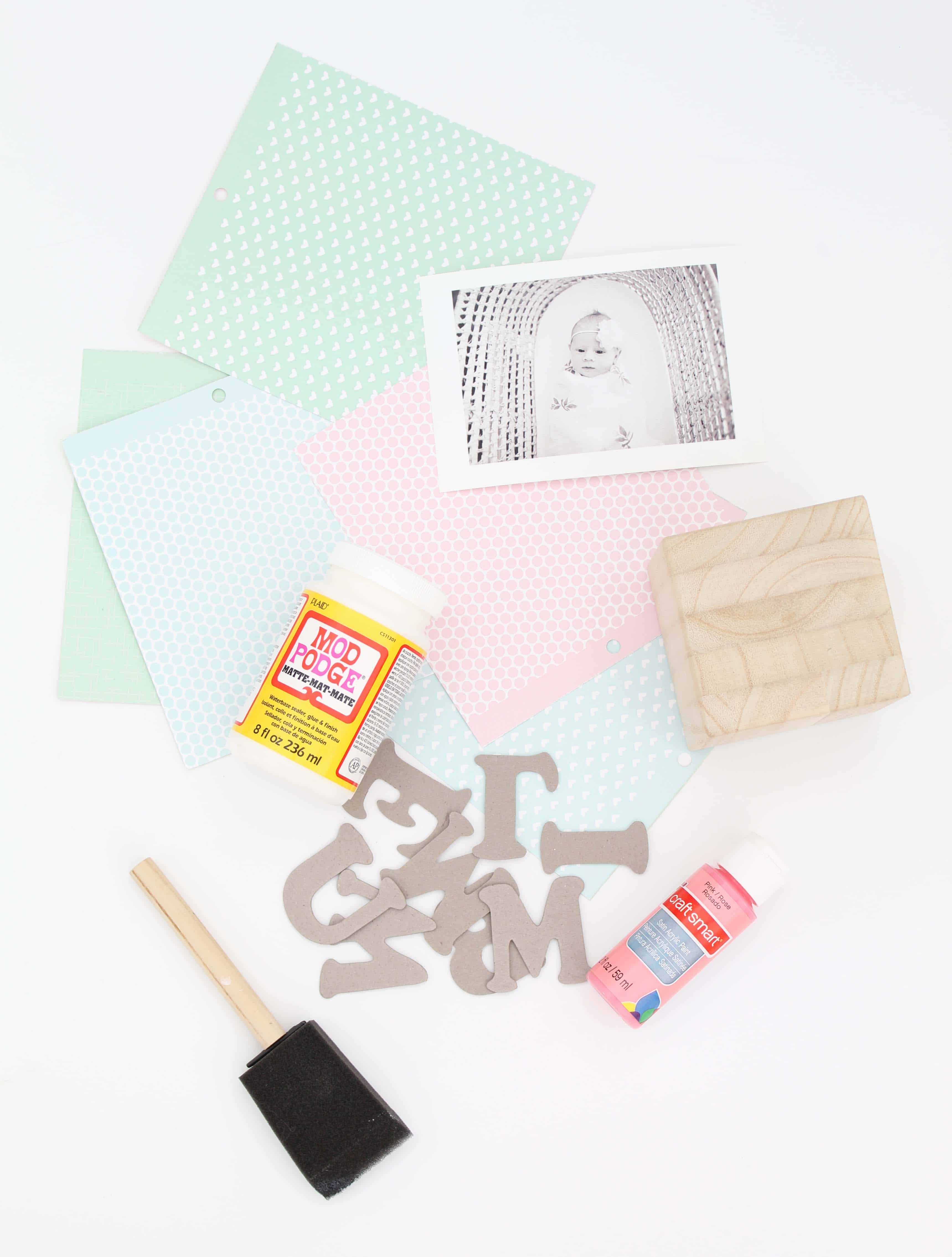 colorful cardstock and newborn baby photo