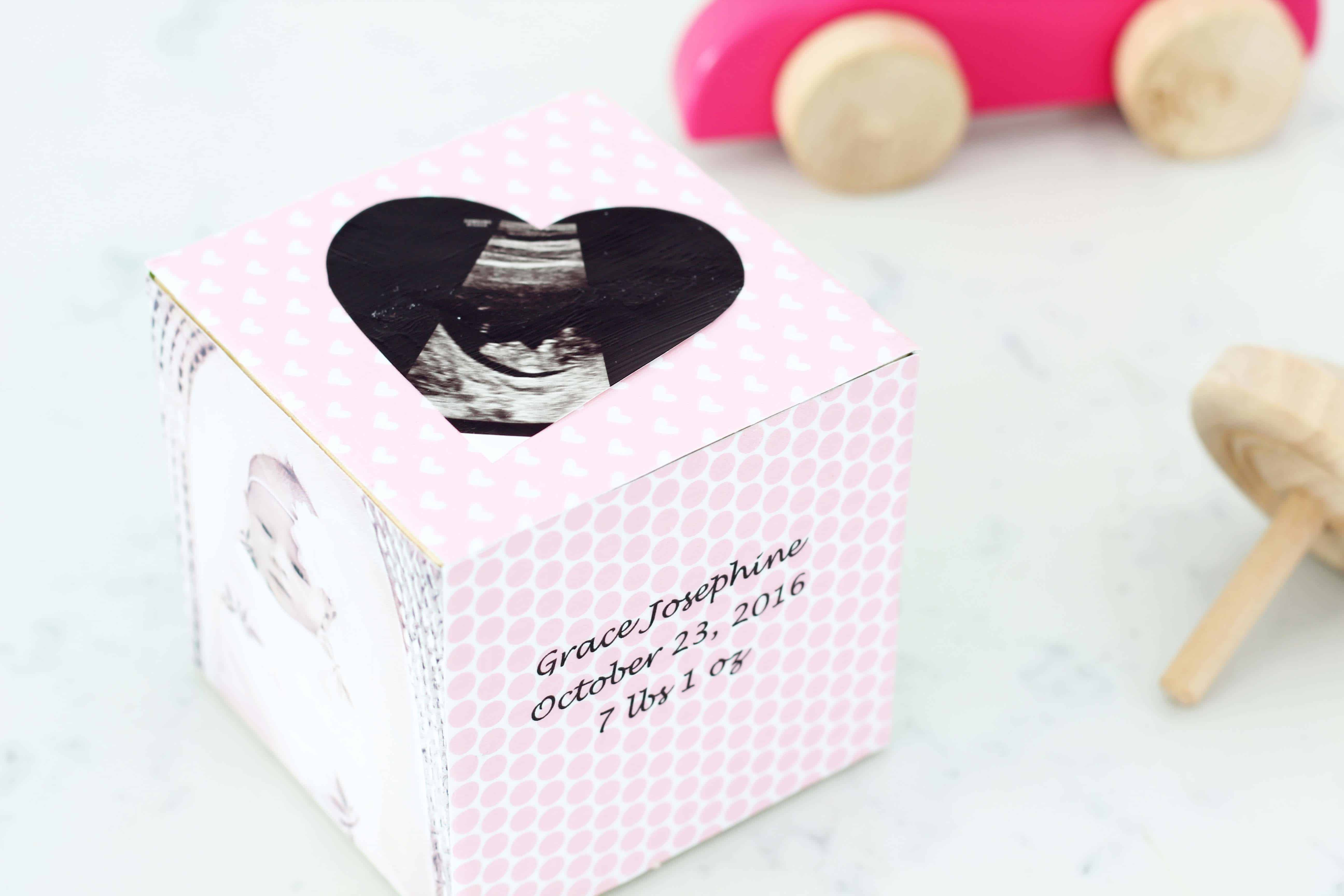newborn baby keepsake block with wooden top and ultrasound picture