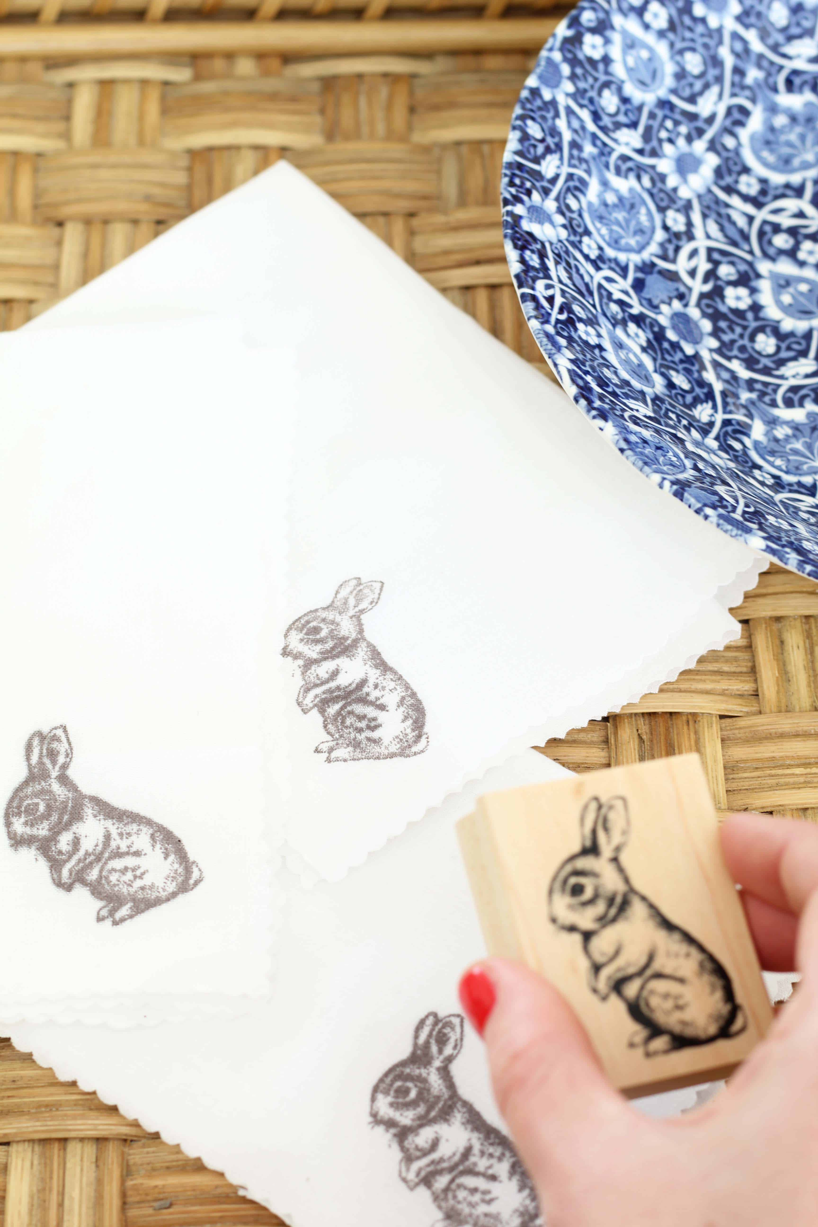 hand stamped easter bunny napkins and blue transfer ware bowl