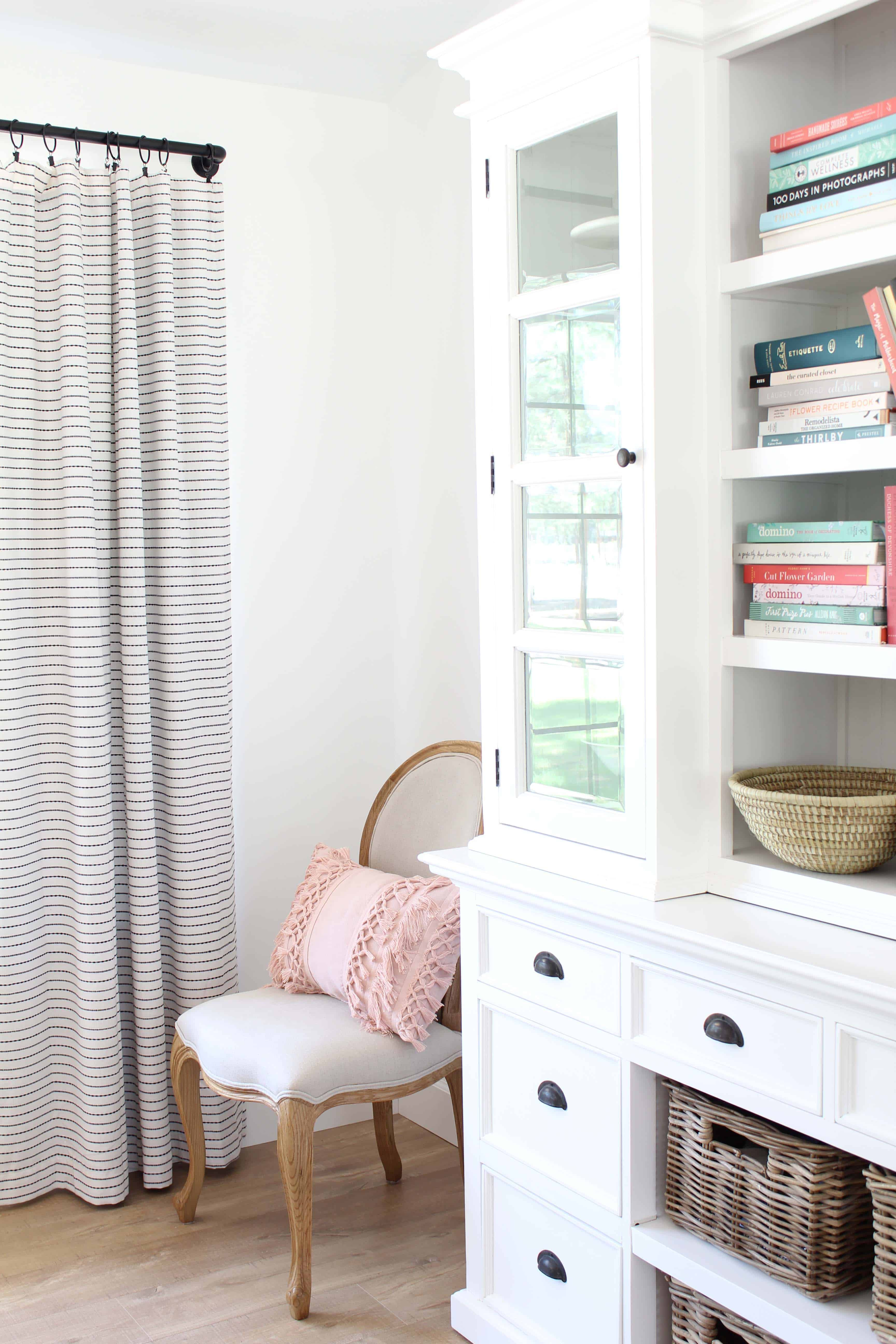 novo solo halifax library hutch, pottery barn french chair, stone and beam striped curtains