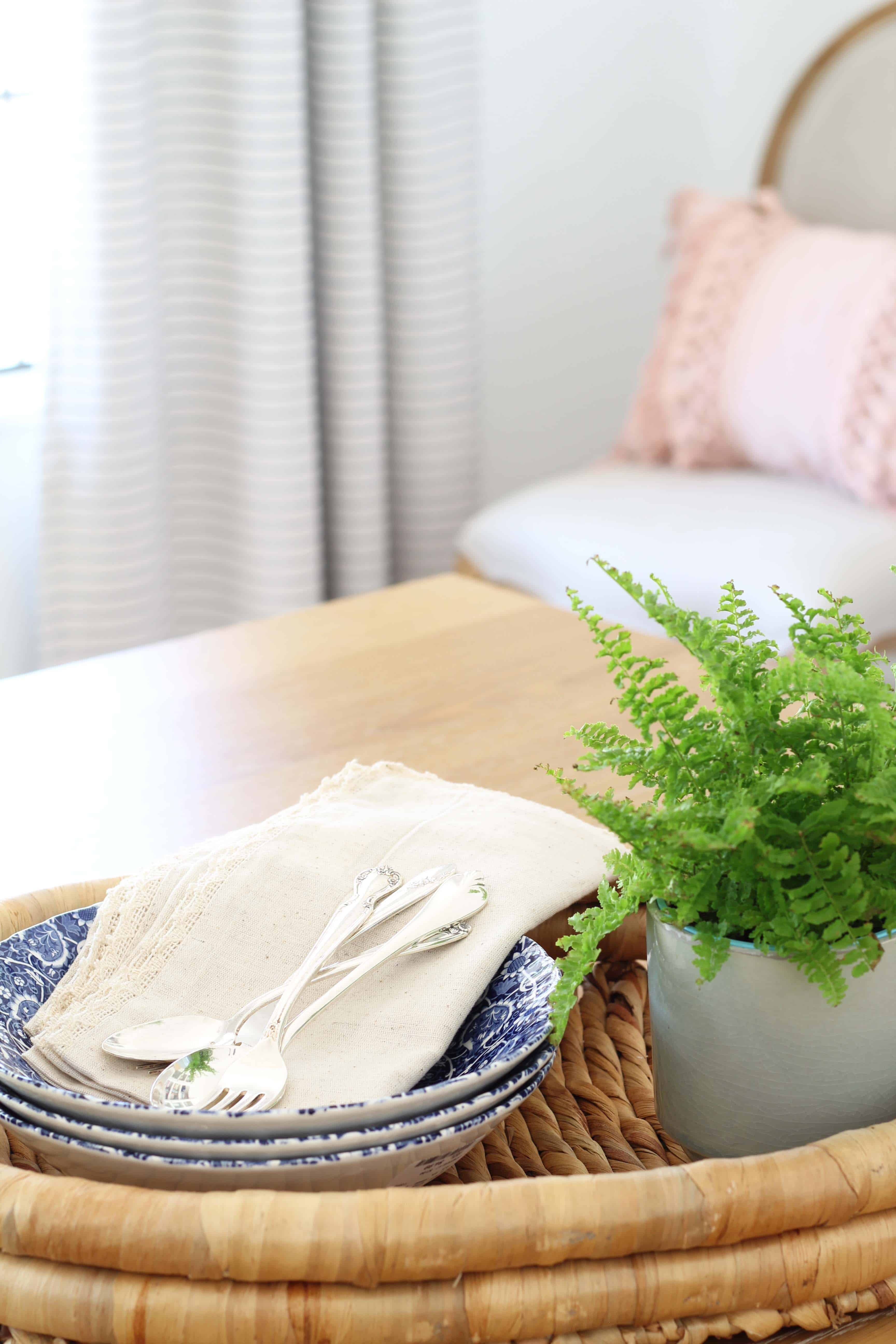 stone and beam striped curtains, fern in aqua pot, blue transfer ware with antique silverware