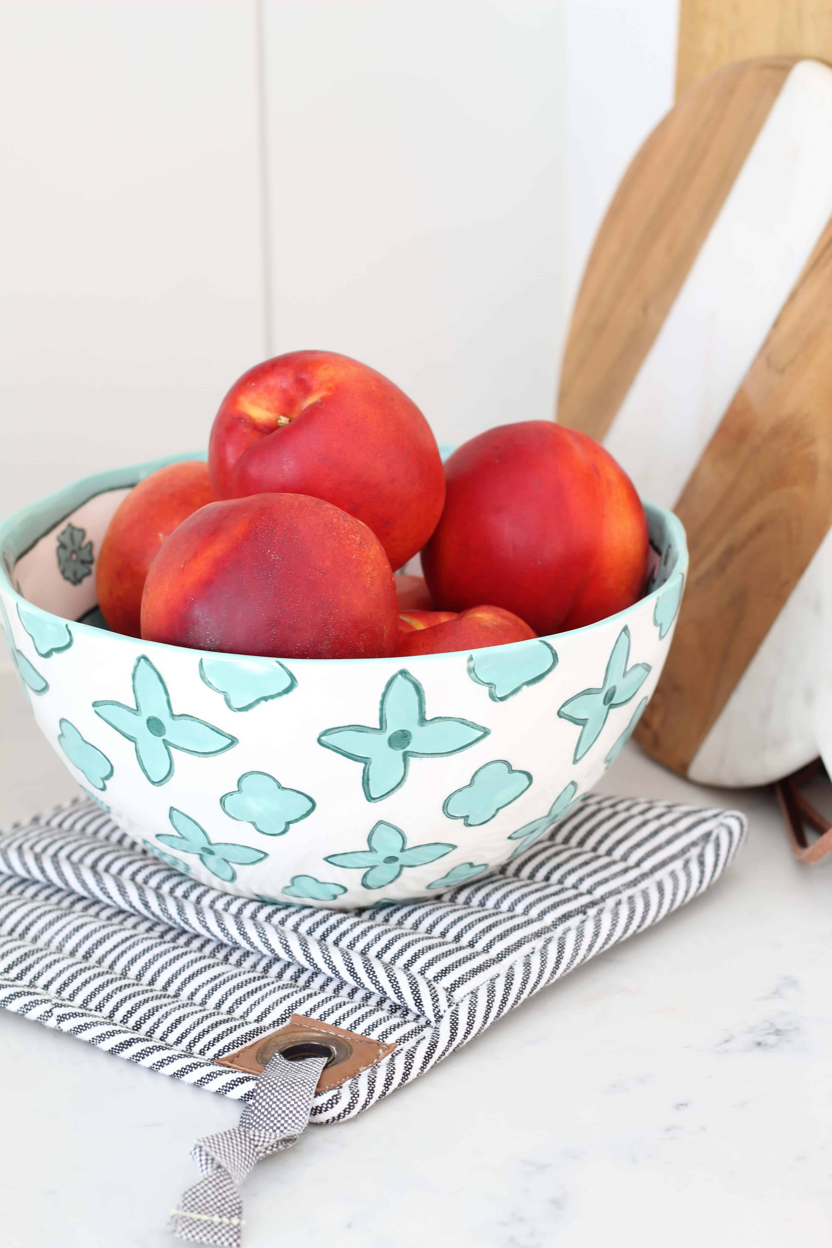 nectarines in fruit bowl from anthropologie