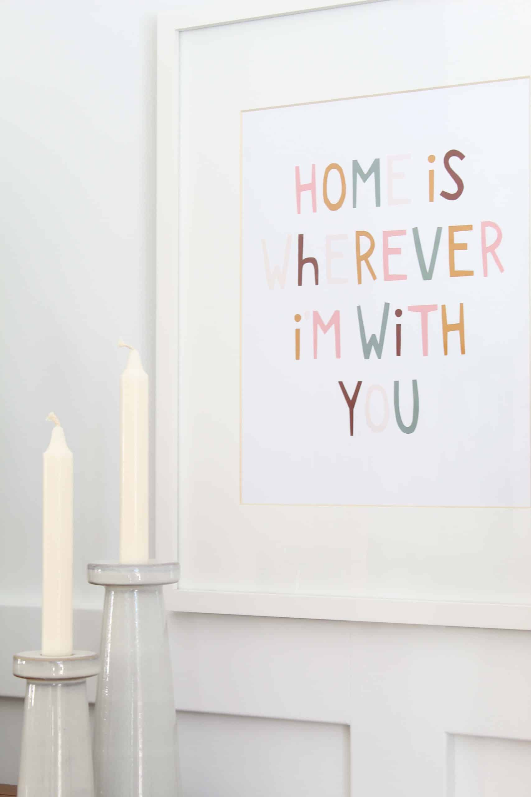 magnolia ceramic candlesticks, home is wherever i'm with you print