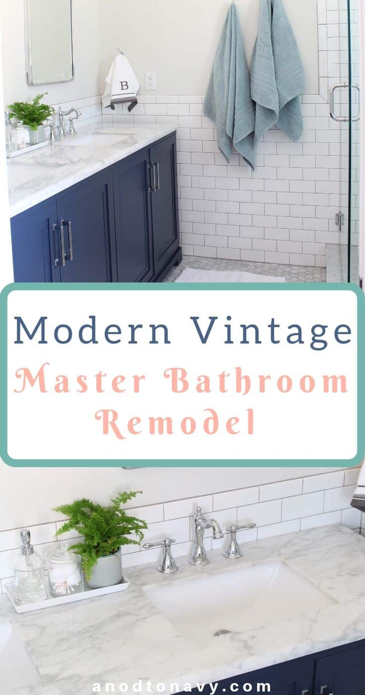 Our Master Bathroom Renovation A Nod To Navy