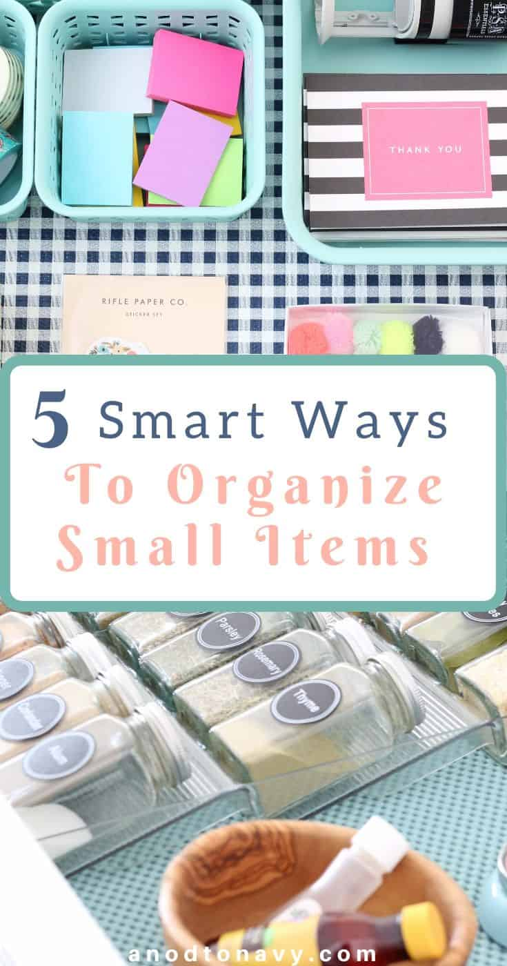 organized spice drawer with glass jars, organized junk drawer with navy gingham drawer liner