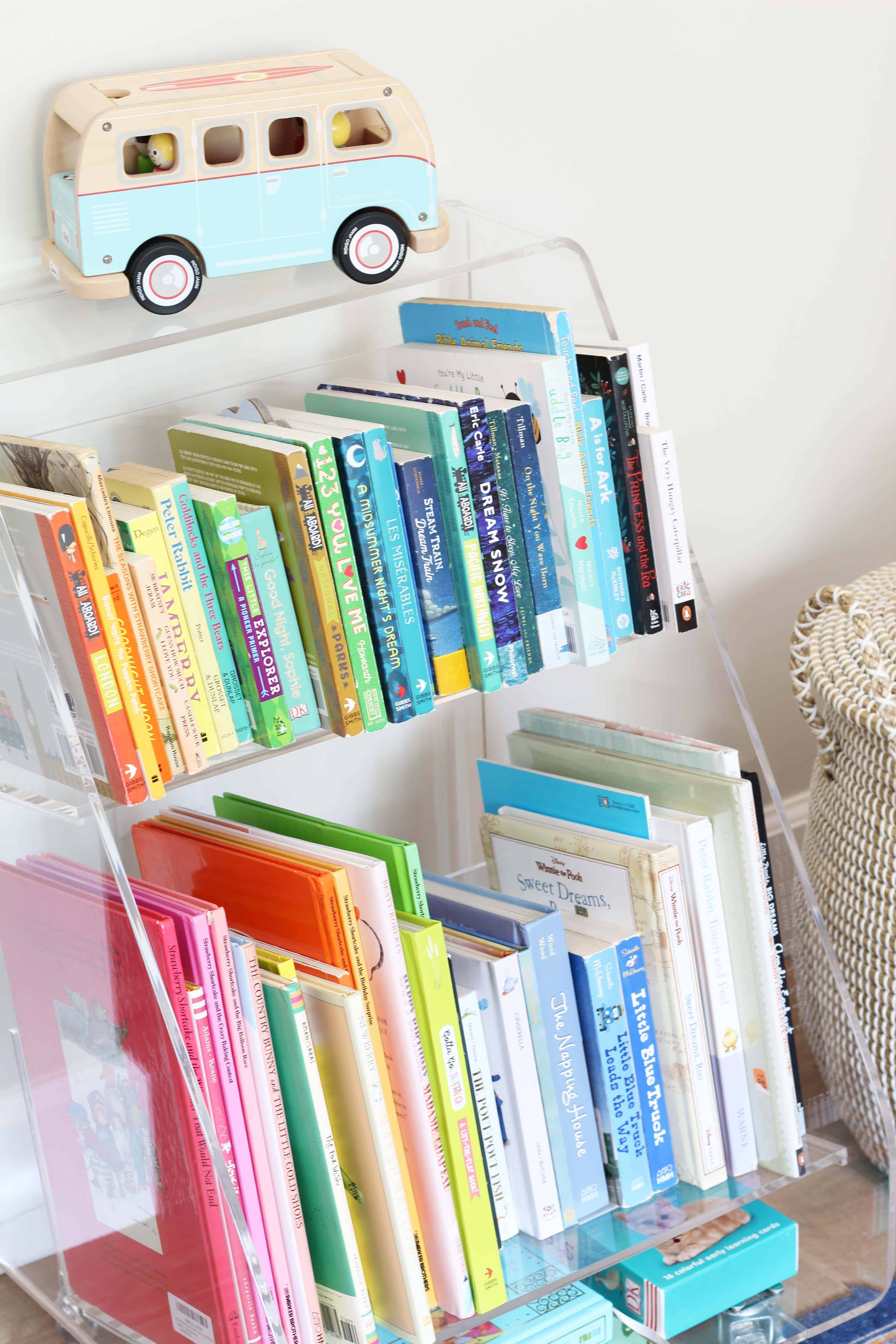 crate and kids acrylic book cart