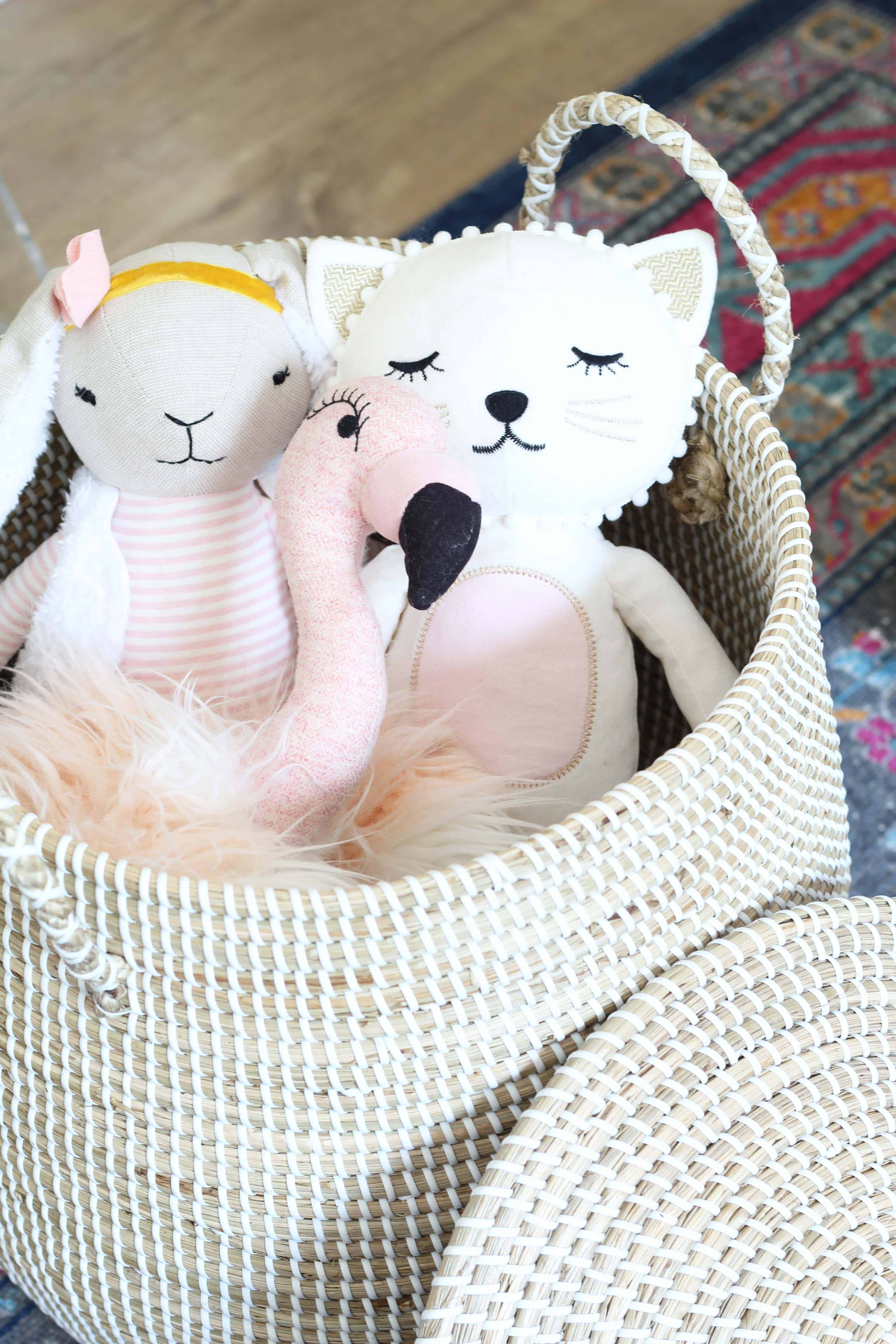 serena and lily lidded baskets, pottery barn stuffed cat, target stuffed bunny