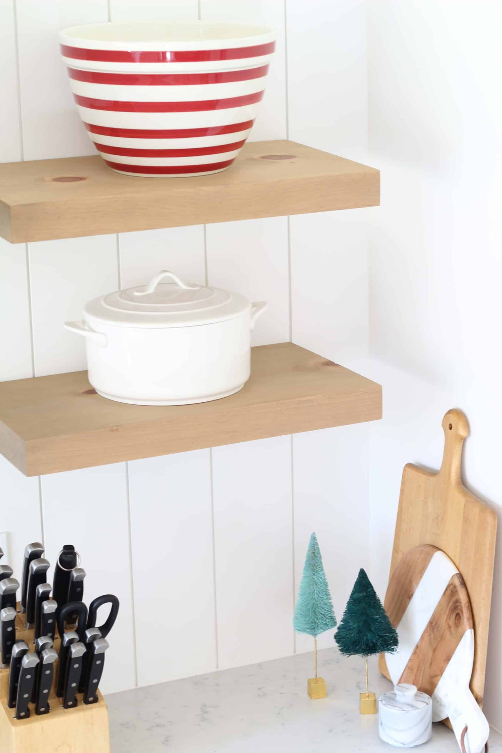 crate and barrel red striped mixing bowl, modern farmhouse kitchen open shelving