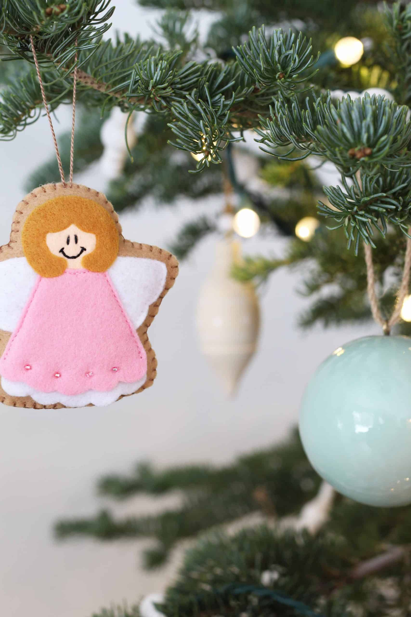 pink felt christmas angel ornament, land of nod colorful ball ornaments