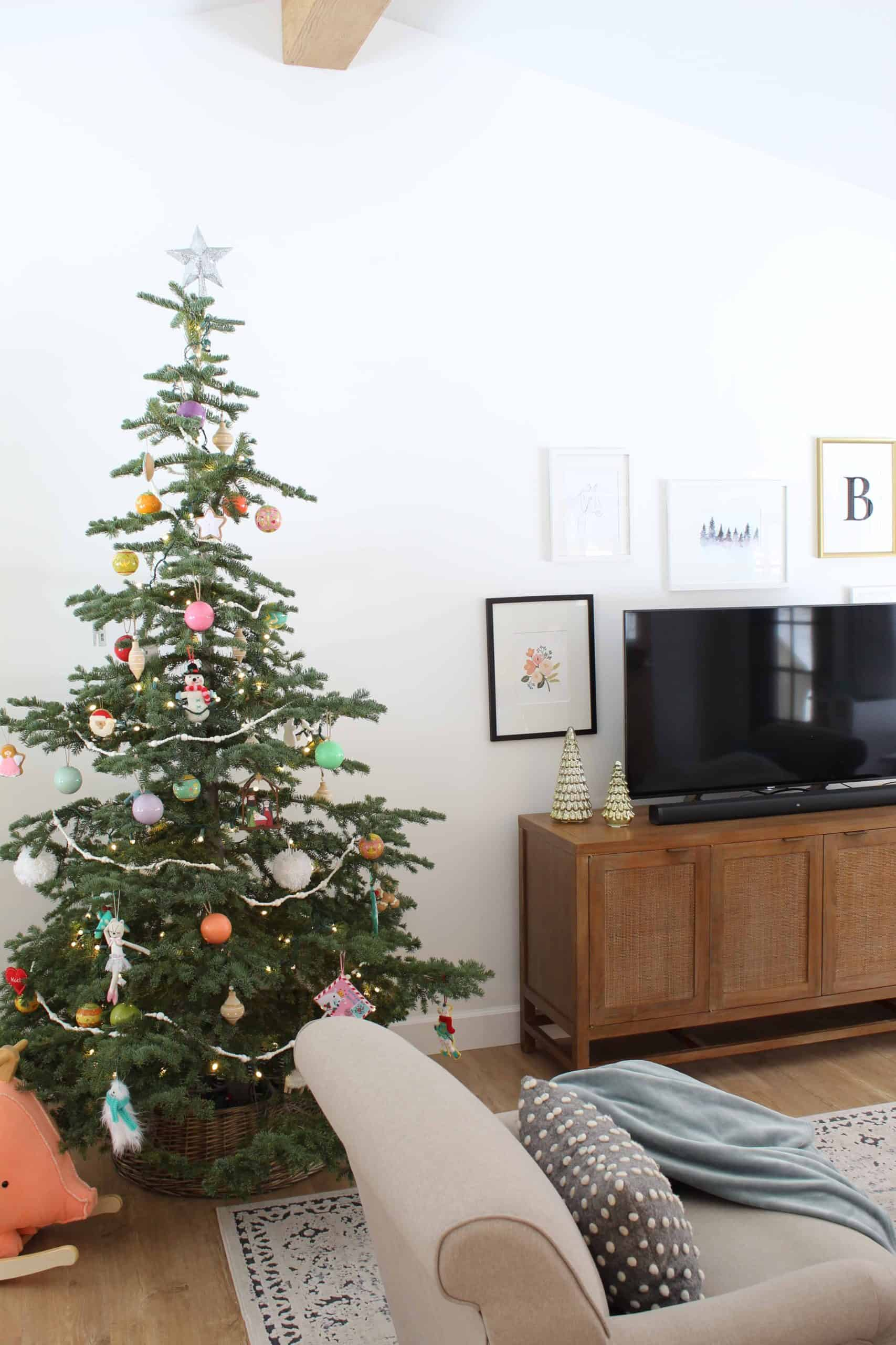 crate and barrel blake gray wash media console, noble fir christmas tree with land of nod ball ornaments