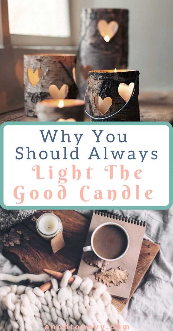 heart birch candle holders, hygge candle, chunky knit finger blanket, candle and hot chocolate in bed