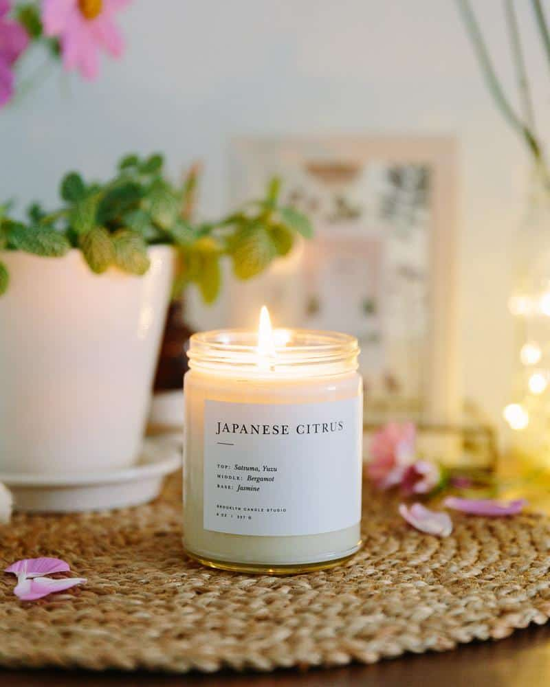 brooklyn candle company japanese citrus candle, cozy hygge candle