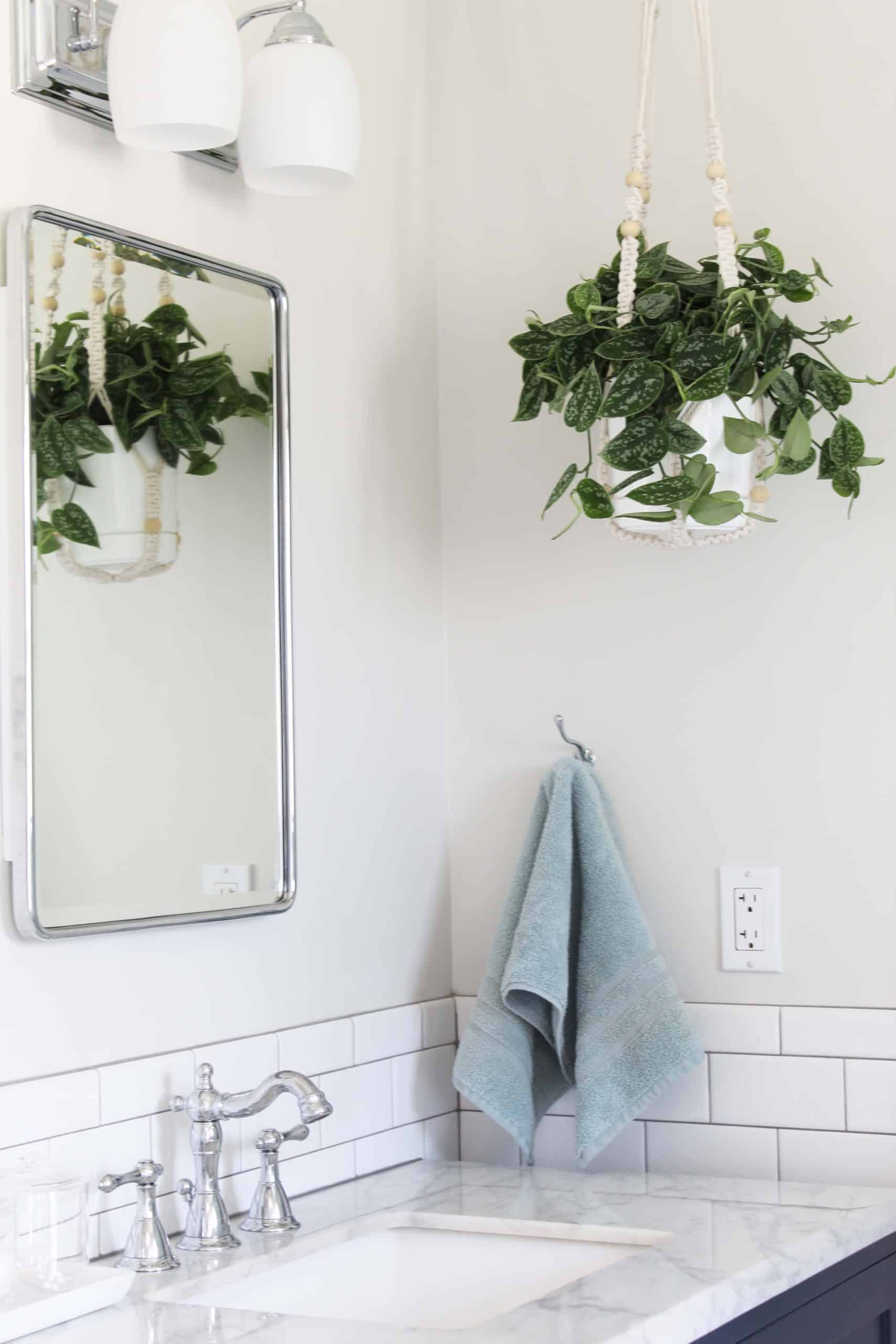 hanging macrame plant in bathroom, subway tile with gray grout, pottery barn recessed medicine cabinet
