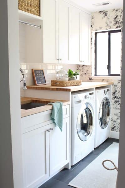 Modern Floral Laundry Room Makeover