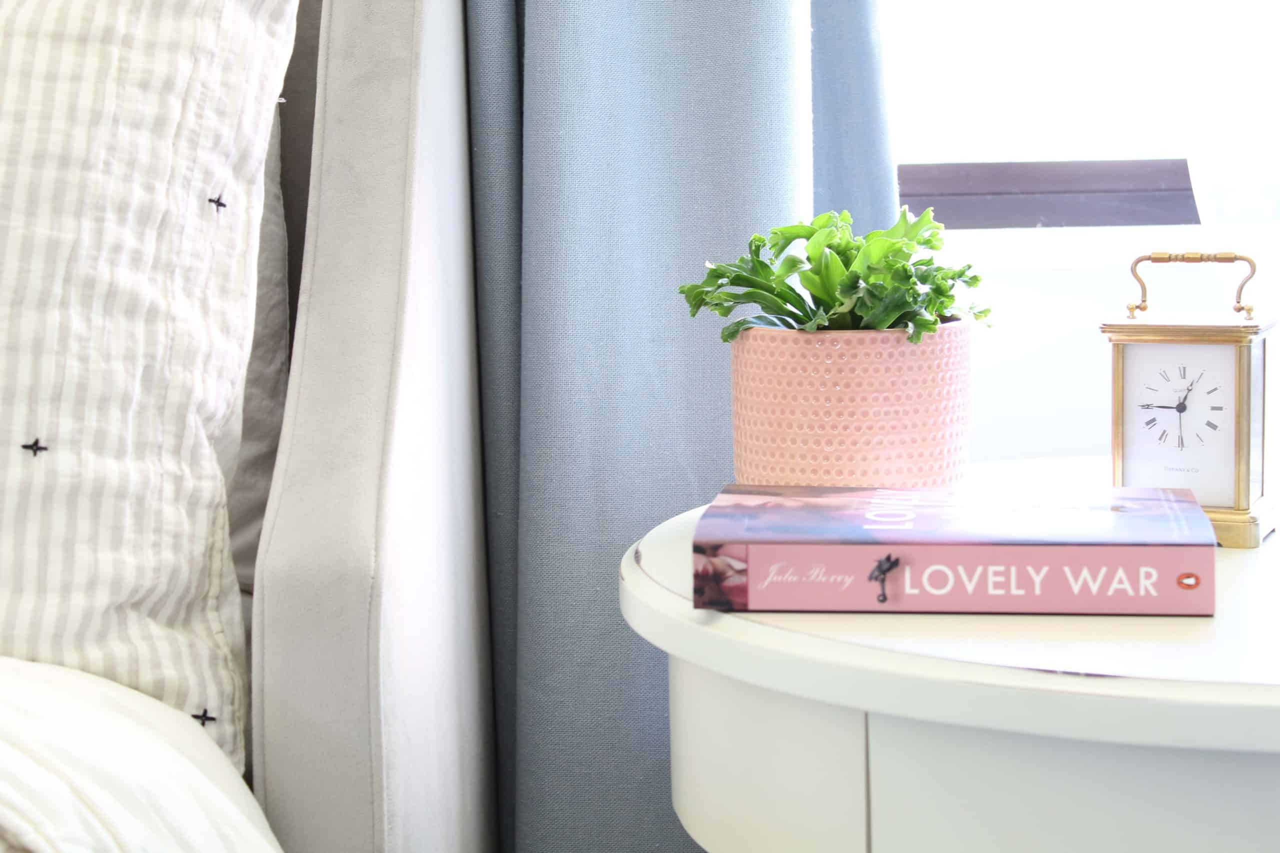 pink plant pot with fern, pottery barn bedside table, lovely war by julie berry
