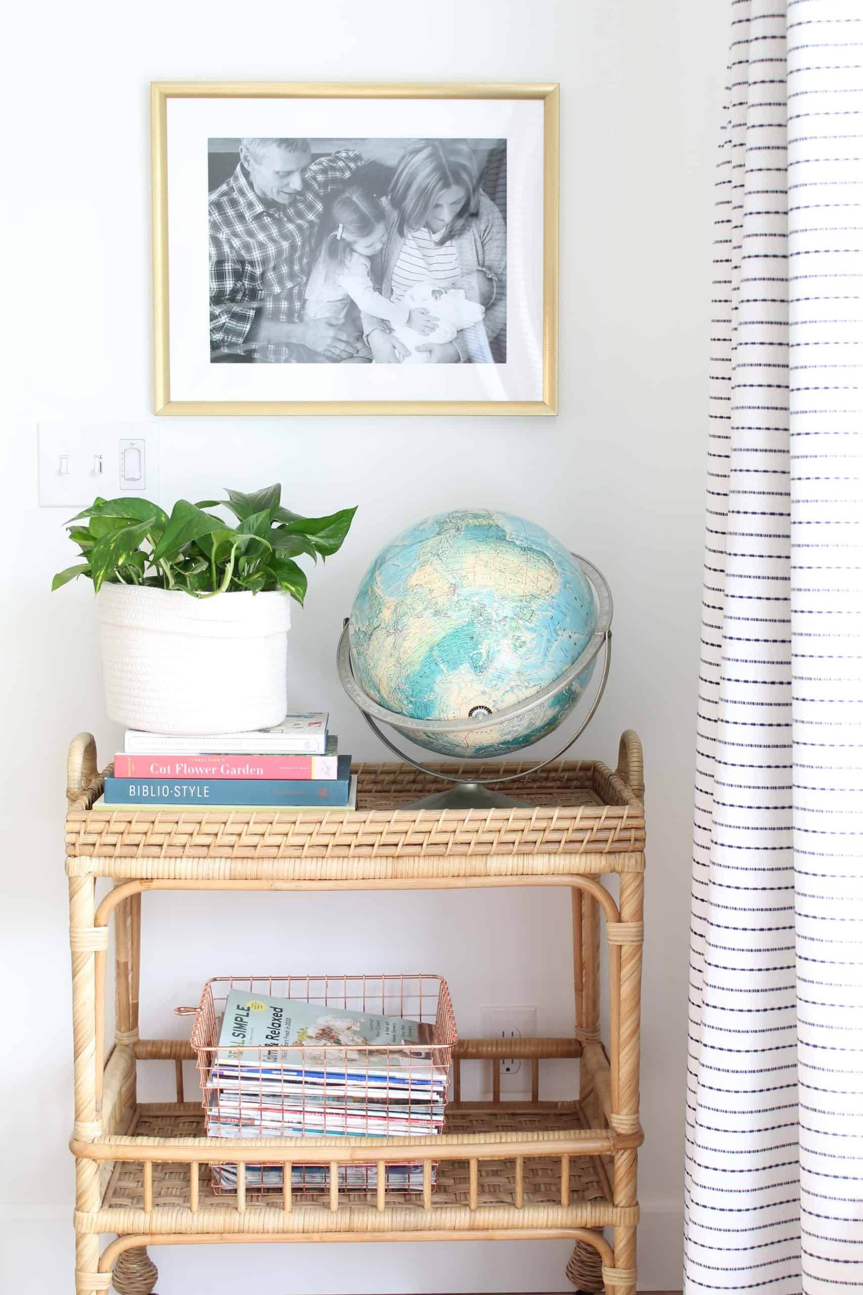 retro globe, woven rope basket, pothos plant, serena and lily south seas bar cart