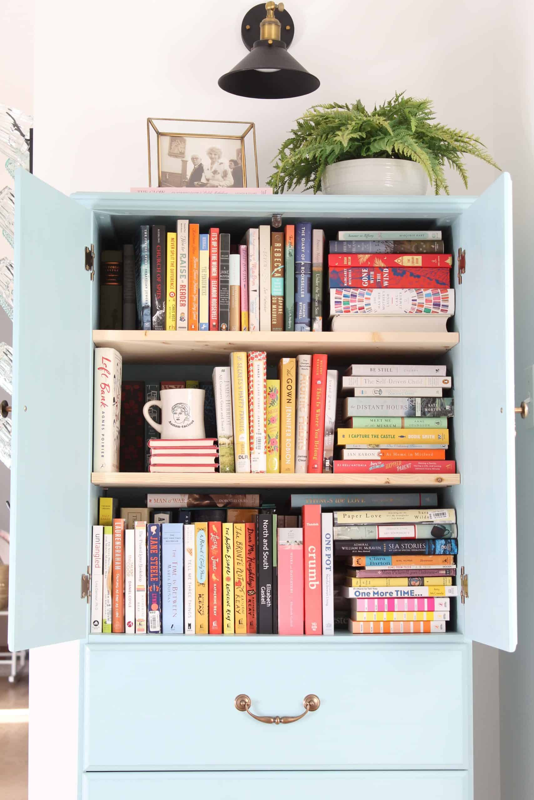 how to make a vintage looking armoire, small home book storage, blue chalk paint armoire
