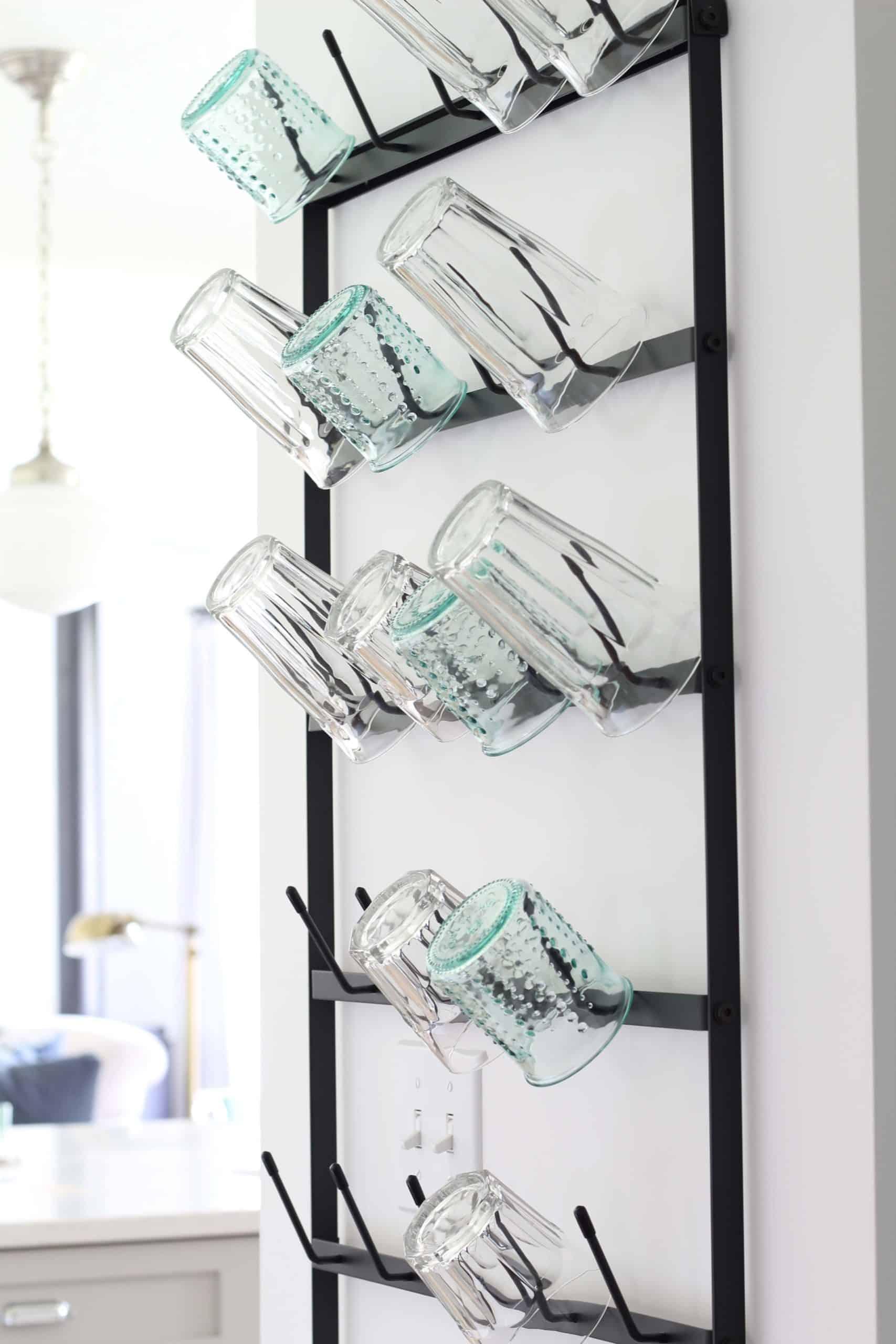 black metal wall mounted mug rack, wall mounted glass rack , farmhouse wall mounted cup rack