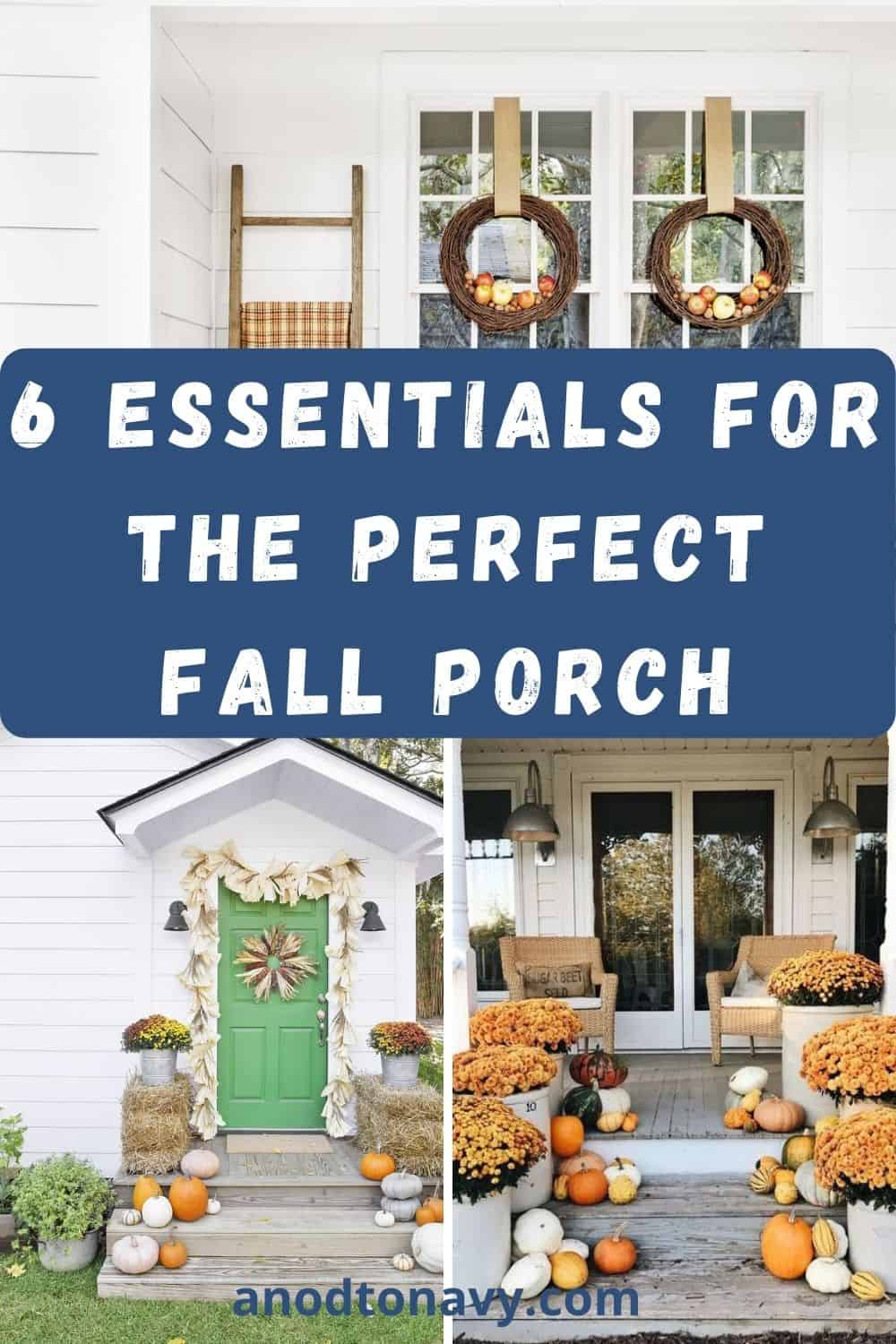 fall wreath, mums, and pumpkins on farmhouse front porch