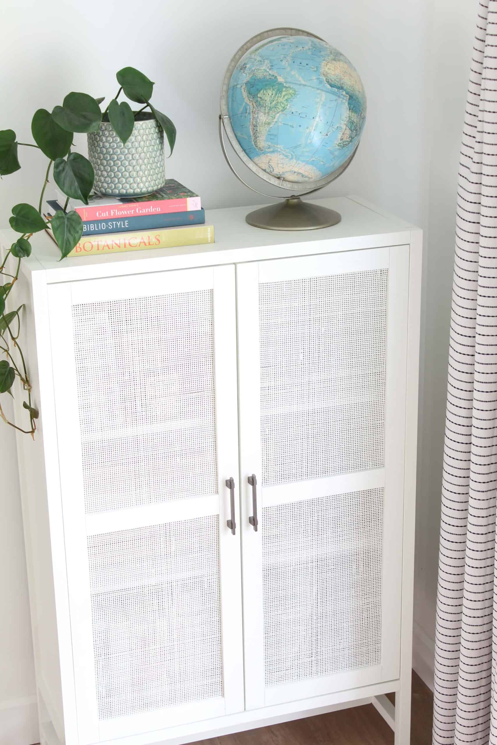 target warwick library cabinet in white, vintage globe, heart leaf philodendron