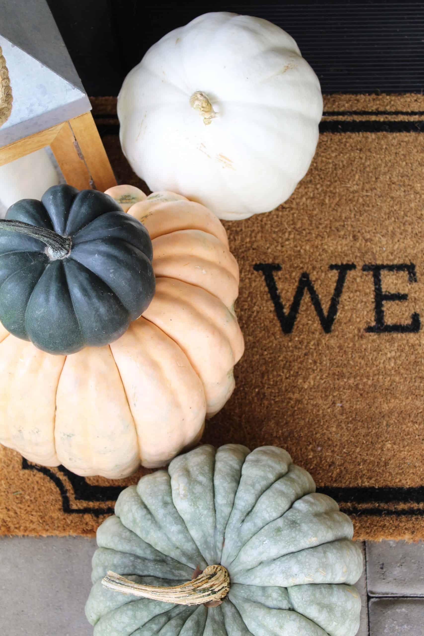 fall fairytale pumpkins on a target welcome doormat with a lantern