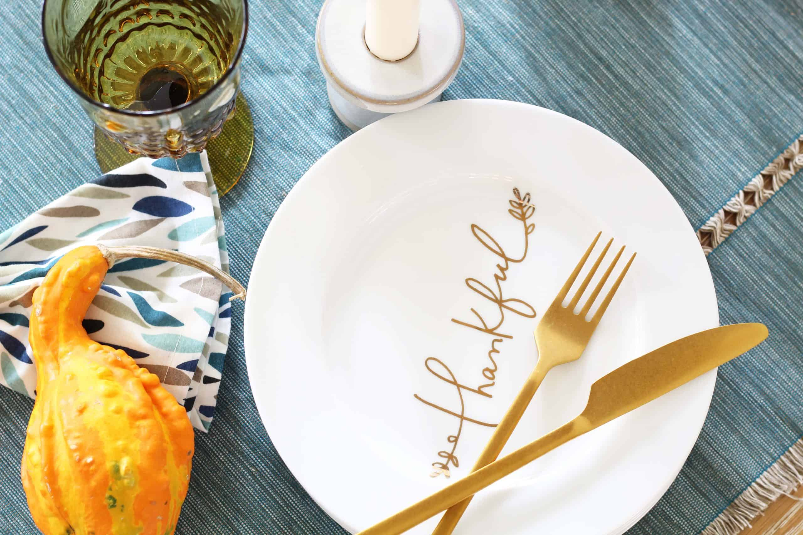crate and barrel thankful plates, gourd, aqua table runner