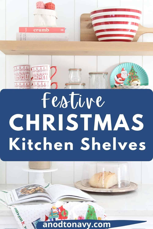 farmhouse kitchen with open kitchen shelves, scandinavian christmas mugs
