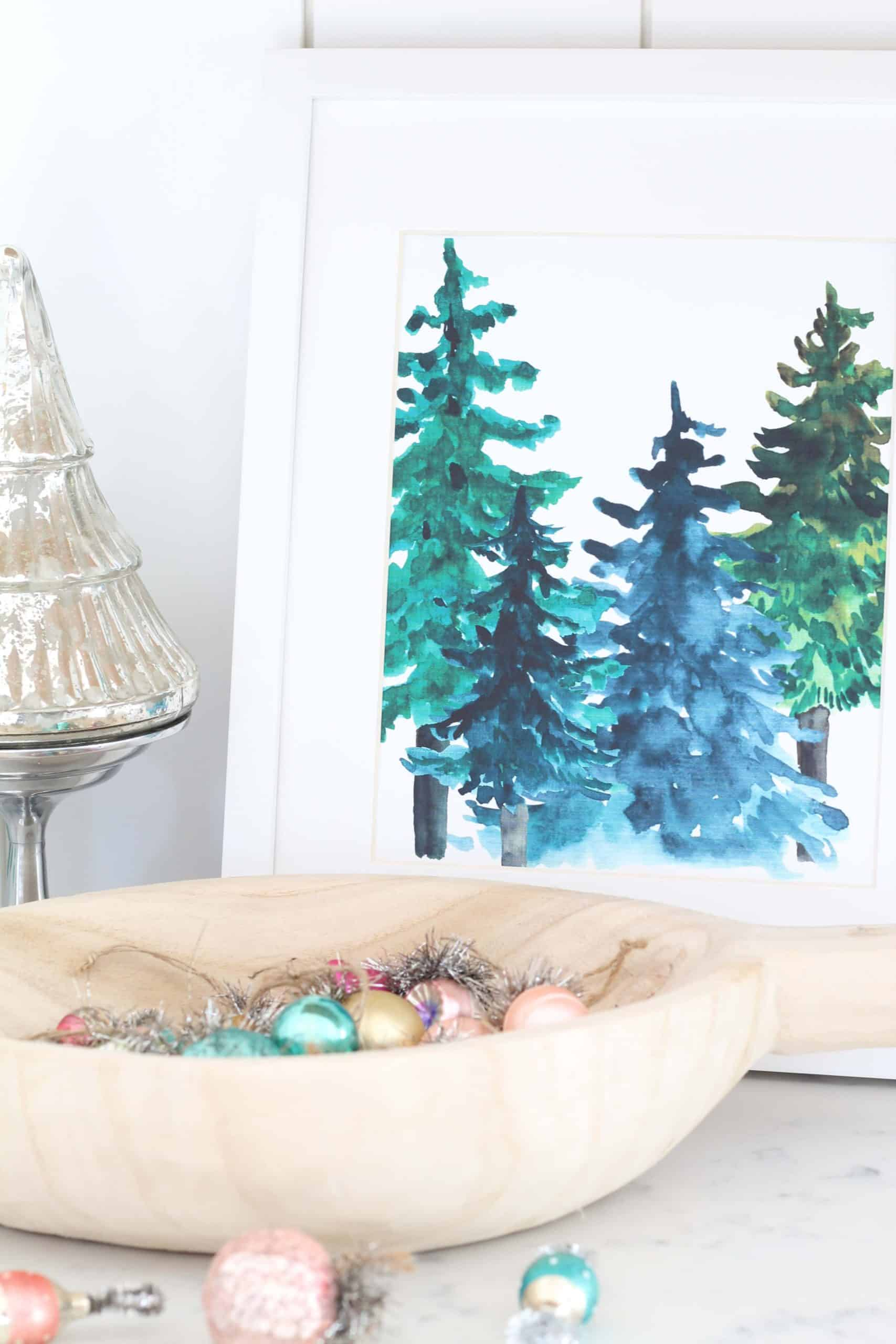 dough bowl with mini vintage ornaments in it, mercury christmas tree, winter forest tree art