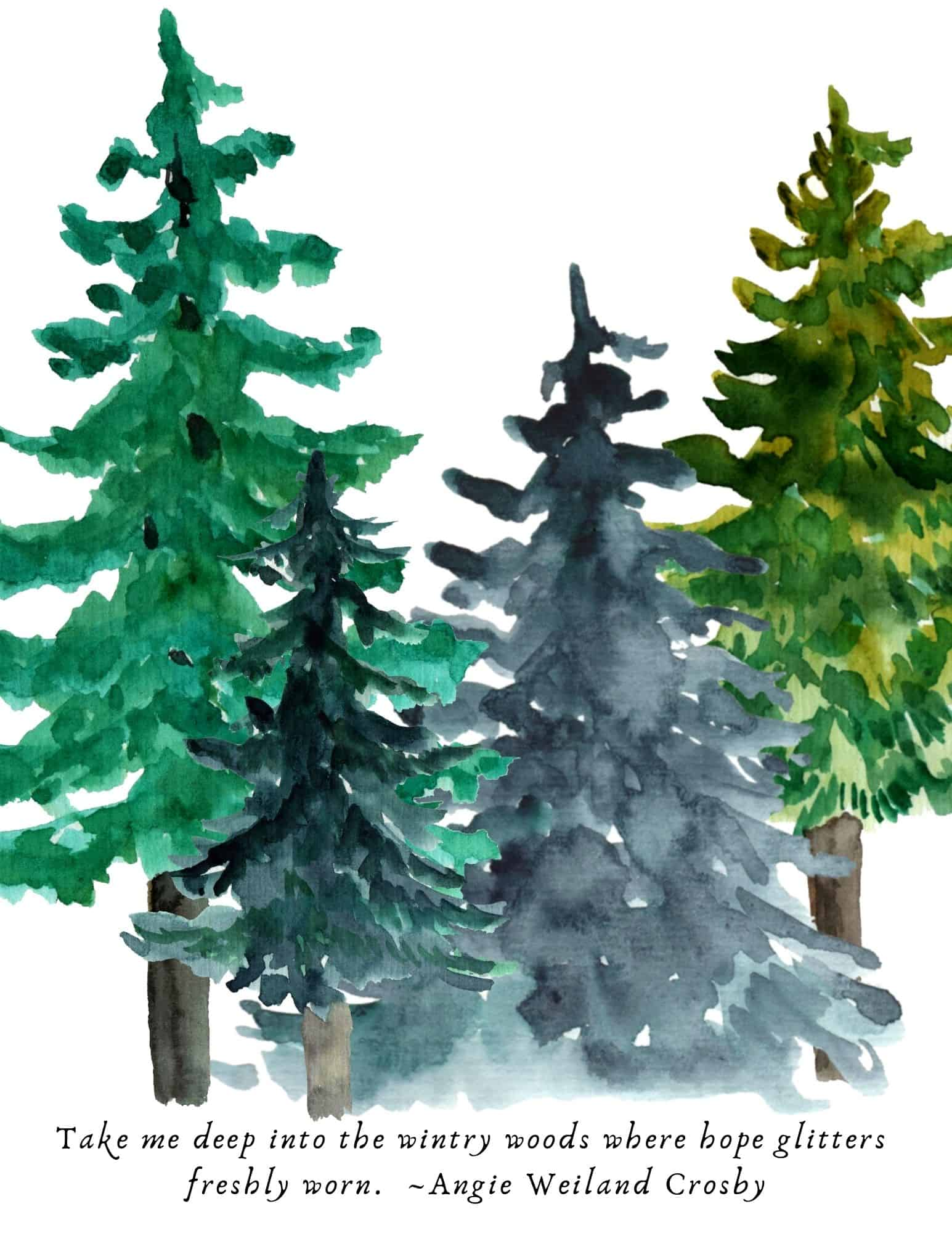 free printable winter forest tree art