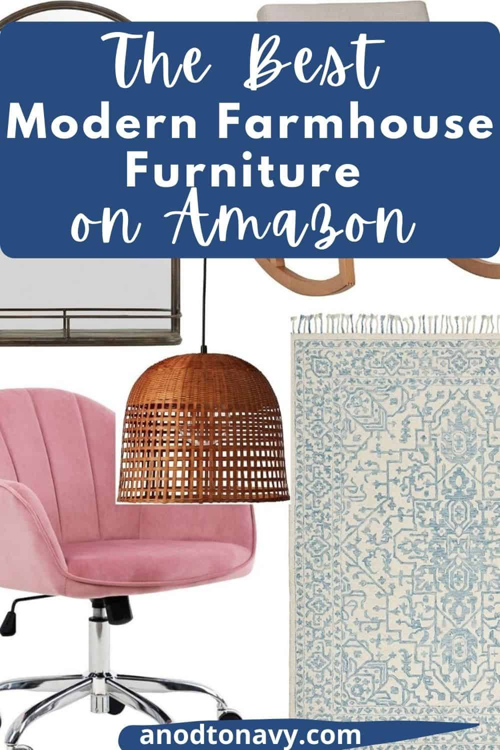 amazon farmhouse furniture, modern wood rocking chair, woven basket light pendant, light blue persian rug, pink velvet office chair, black iron arched farmhouse mirror