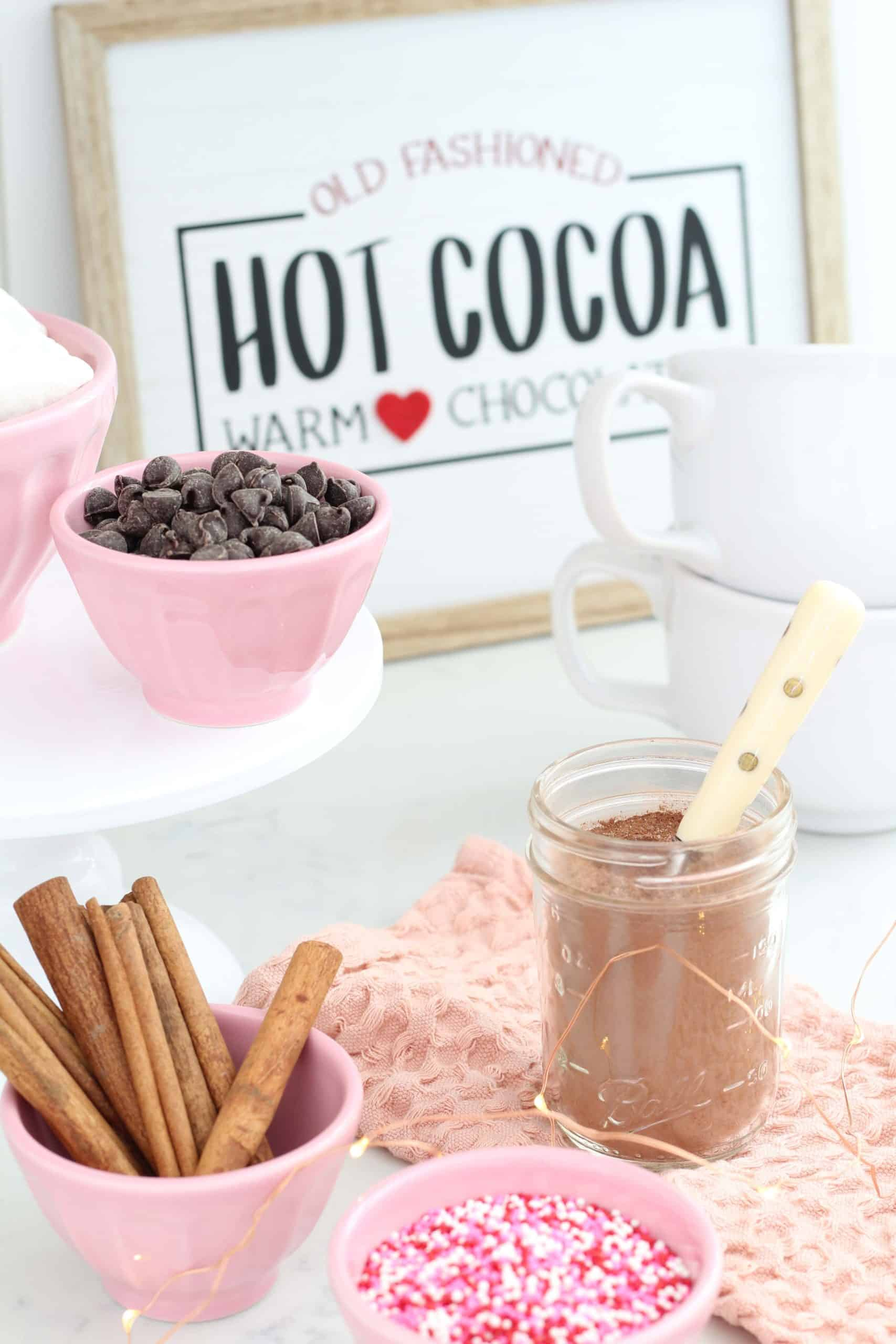 hot cocoa sign, pink anthropologie bowls, hot cocoa powder in ball jar