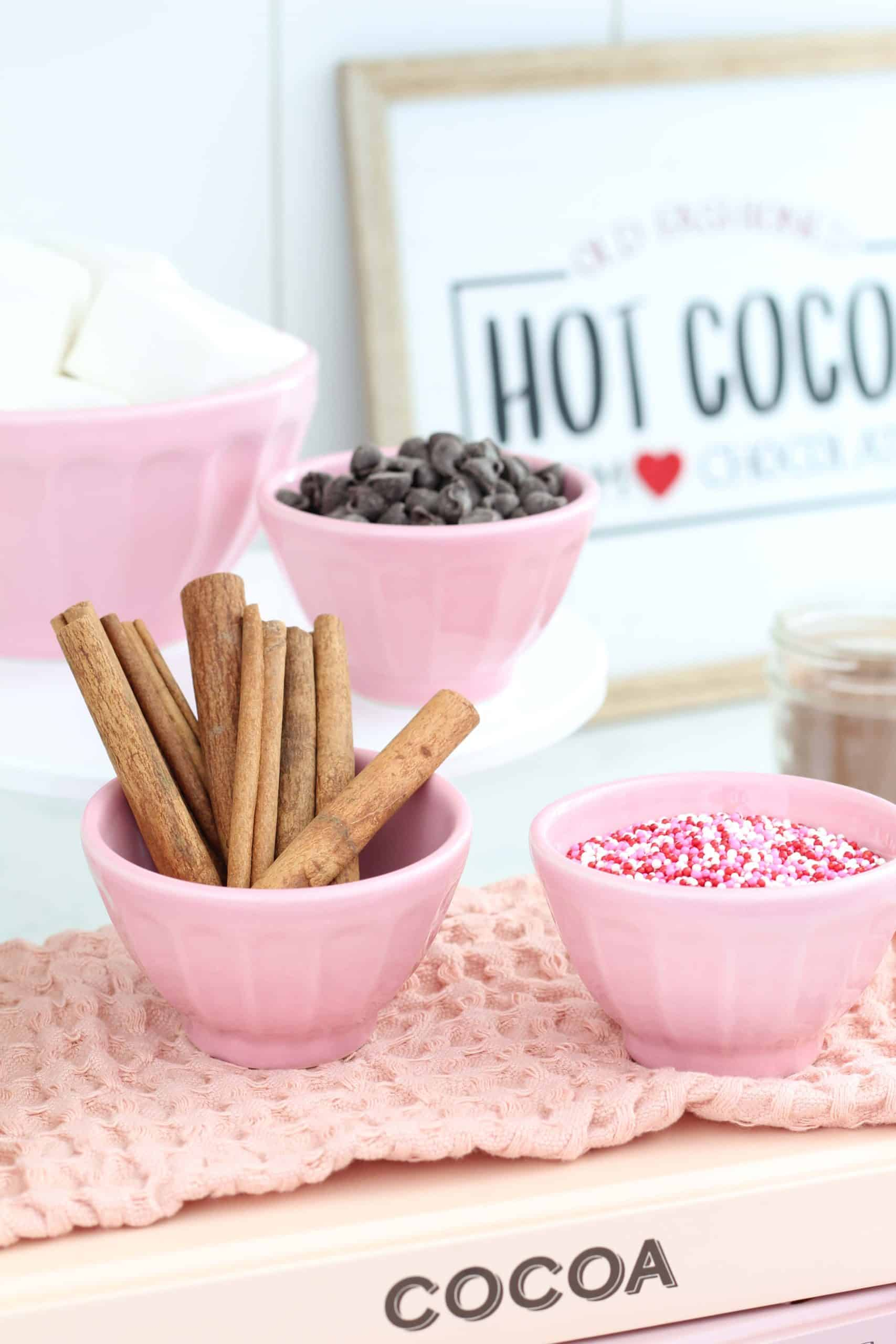 pink anthropologie bowls, cinnamon sticks, dark chocolate chips, pink sprinkles, homemade marshmallows