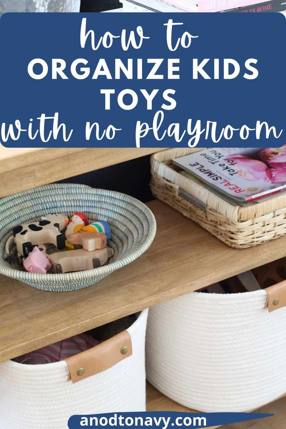 kids wooden toy animals in woven african basket, farmhouse console table