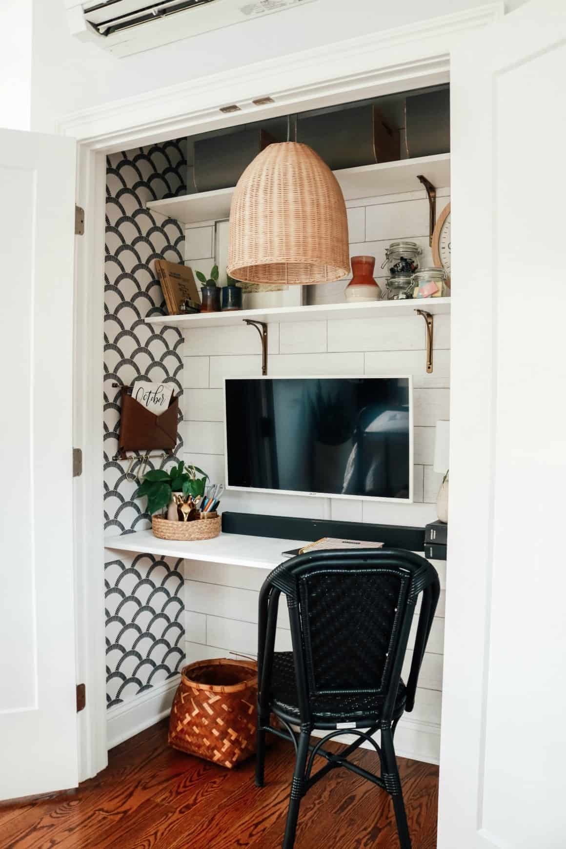 cloffice, home office in closet with basket light
