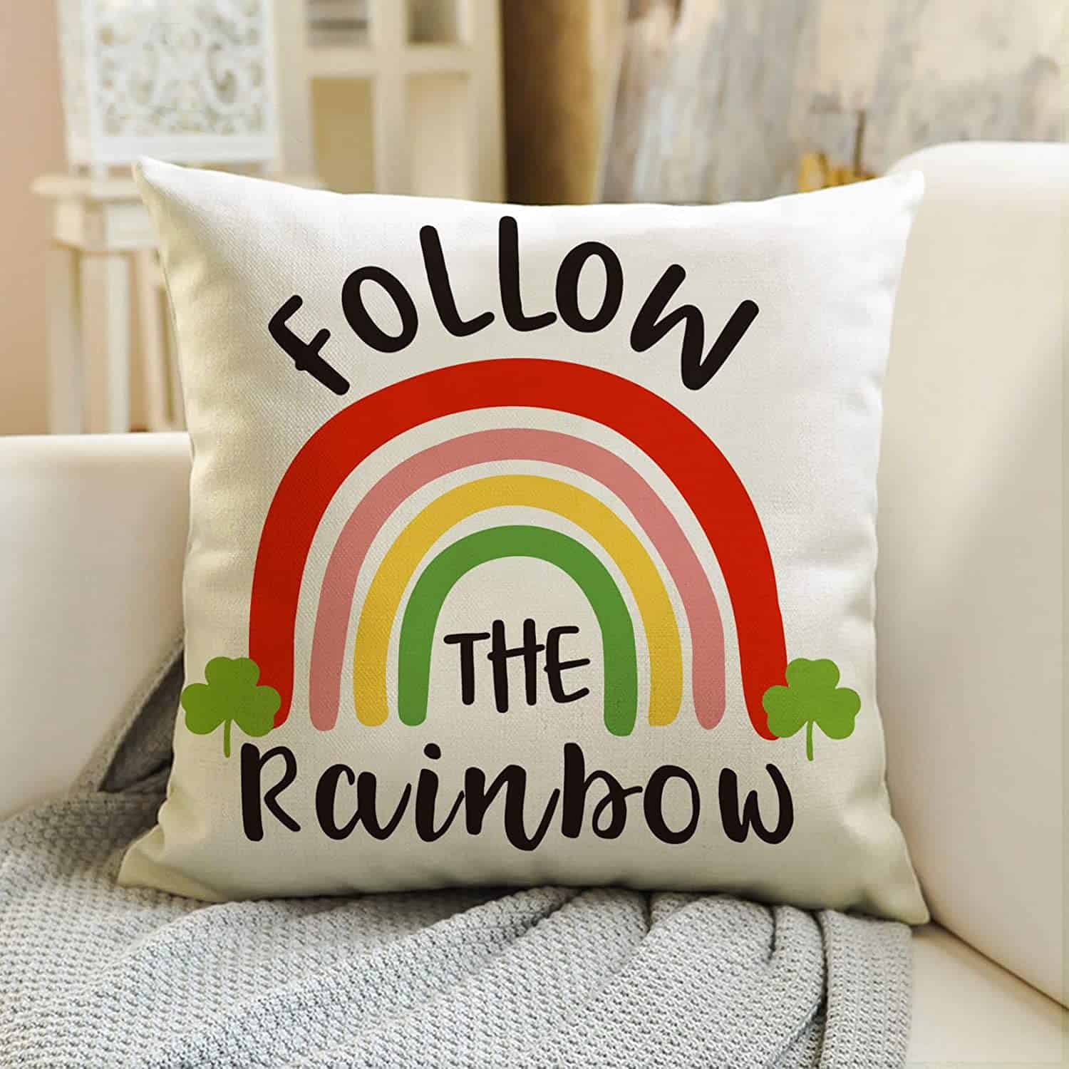 pillow cover with rainbow on it